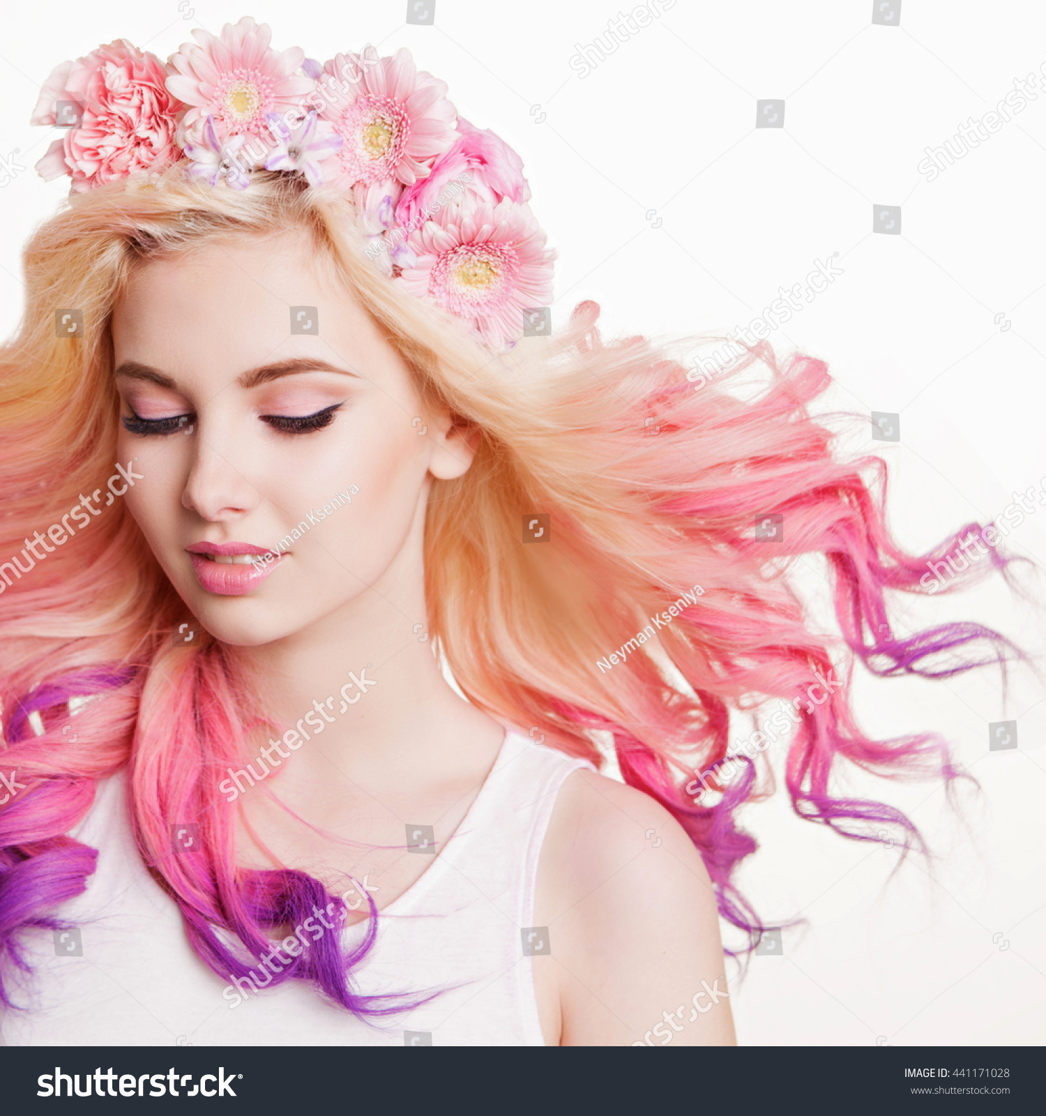 Youth Women Curly Colored Hair Flowers Stock Photo Edit Now