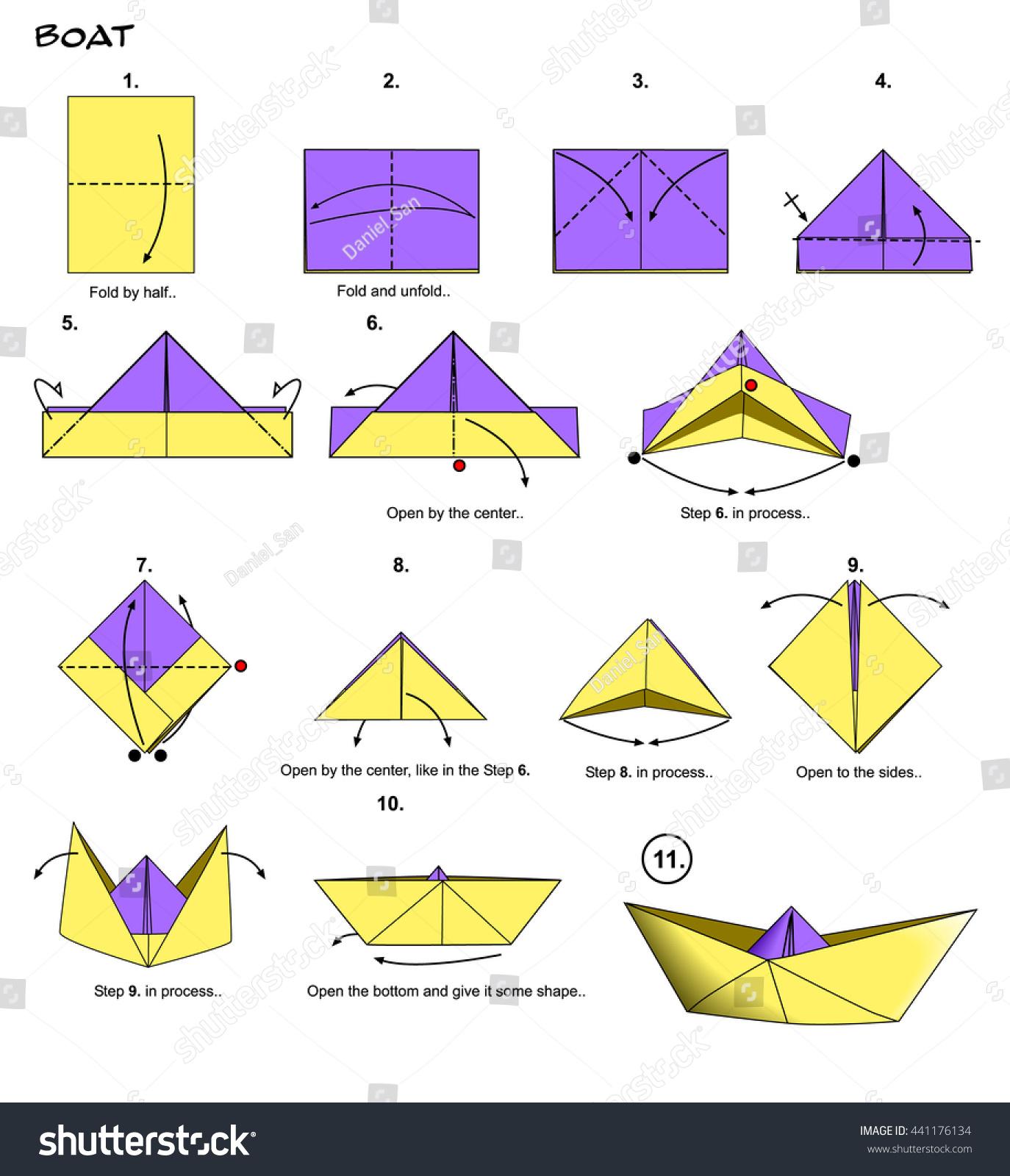 origami paper boat steps stock illustration 441176134
