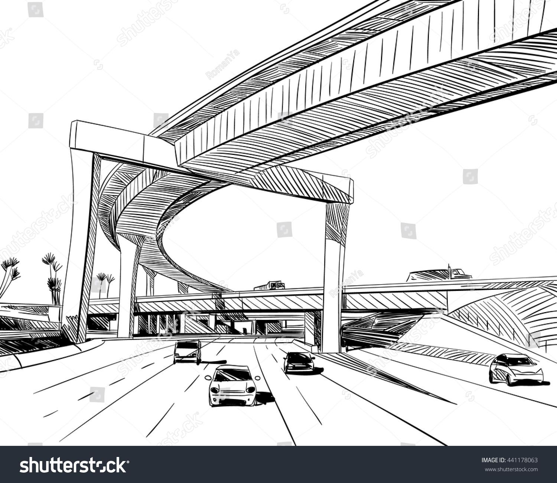 Industrial Road Sketch Design Hand Drawn 441178063