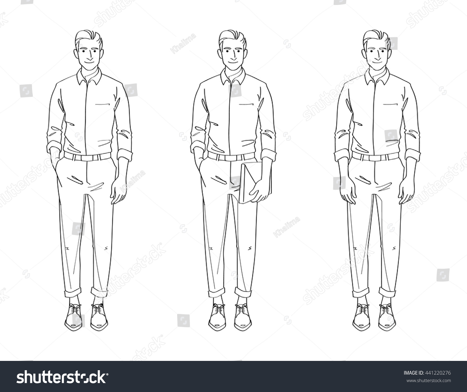 Line Art Man : Line drawing illustration handsome young man stock vector