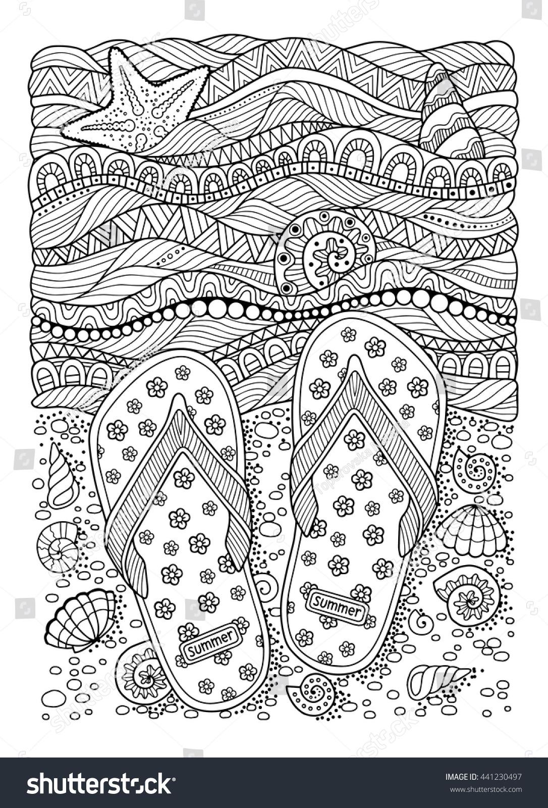 coloring book sea beach slippers stock vector 441230497