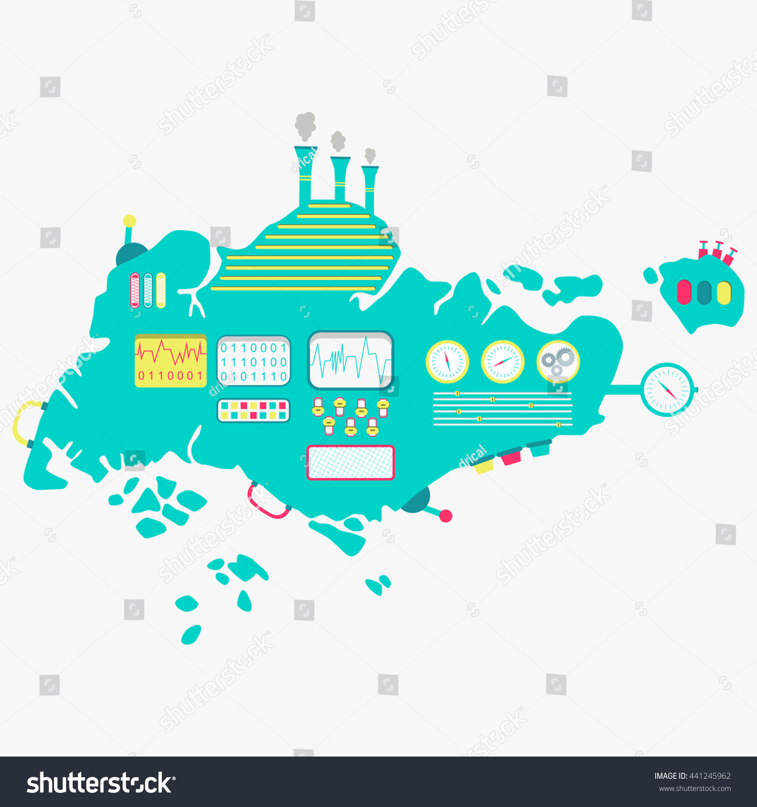 Map Singapore Machine Cute Engine Buttons Stock Vector (Royalty Free