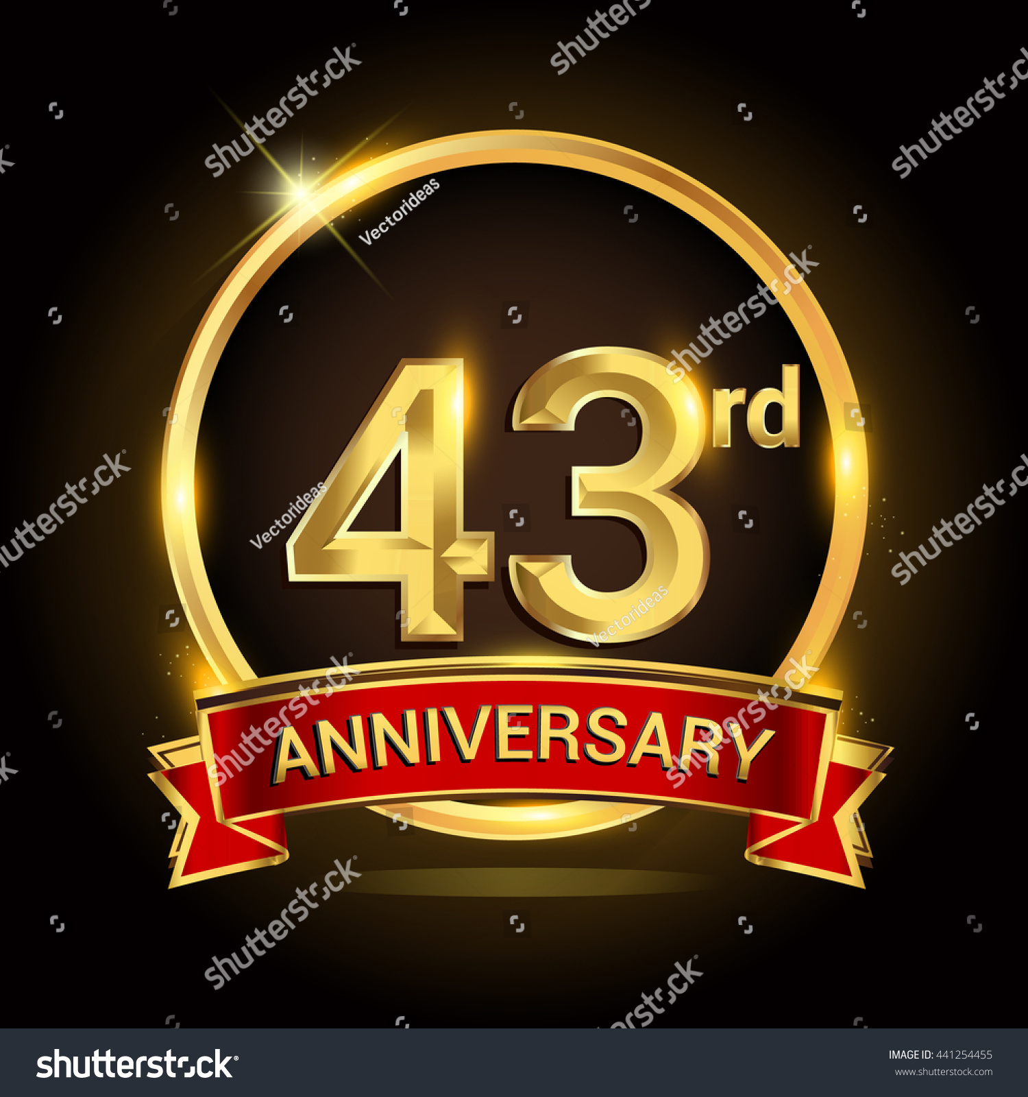43rd Golden Anniversary Logo Ring Red Stock Vector Royalty Free