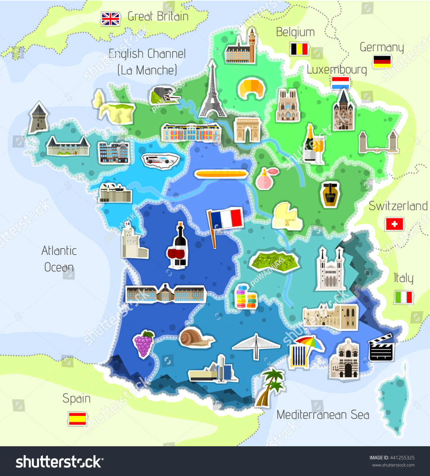 Map Icons France Vector Illustration Stock Vector - Germany map english
