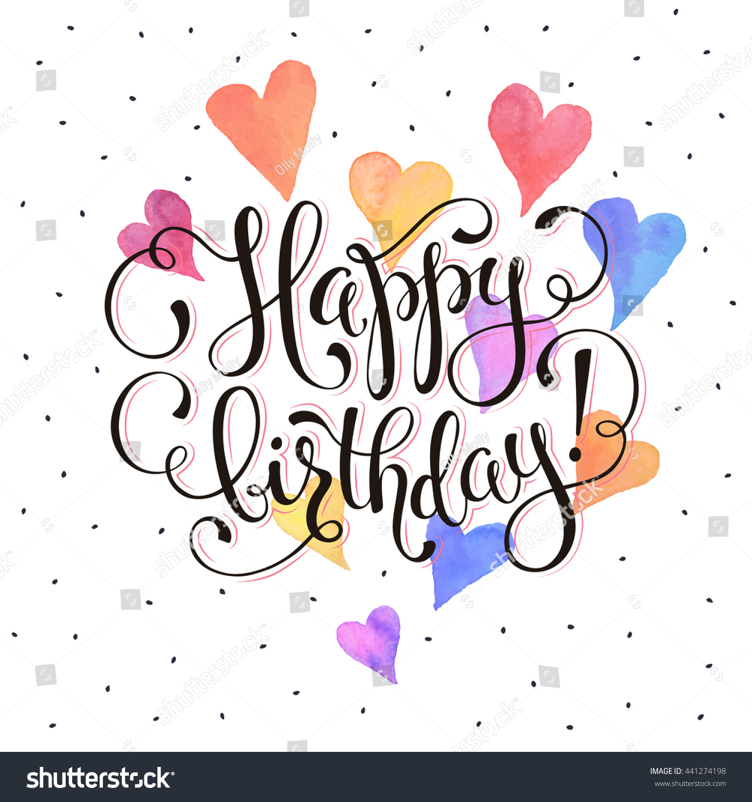 Happy birthday greeting card watercolor hearts stock vector happy birthday greeting card watercolor hearts on white background with text birthday wording vector kristyandbryce Gallery