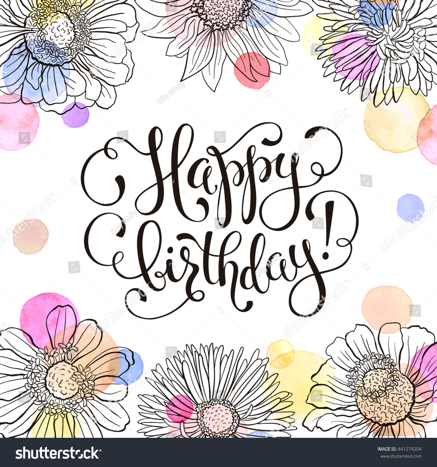 Happy birthday greeting card hand drawn stock vector 441274204 happy birthday greeting card hand drawn flowers frame with watercolor on white background birthday kristyandbryce Gallery