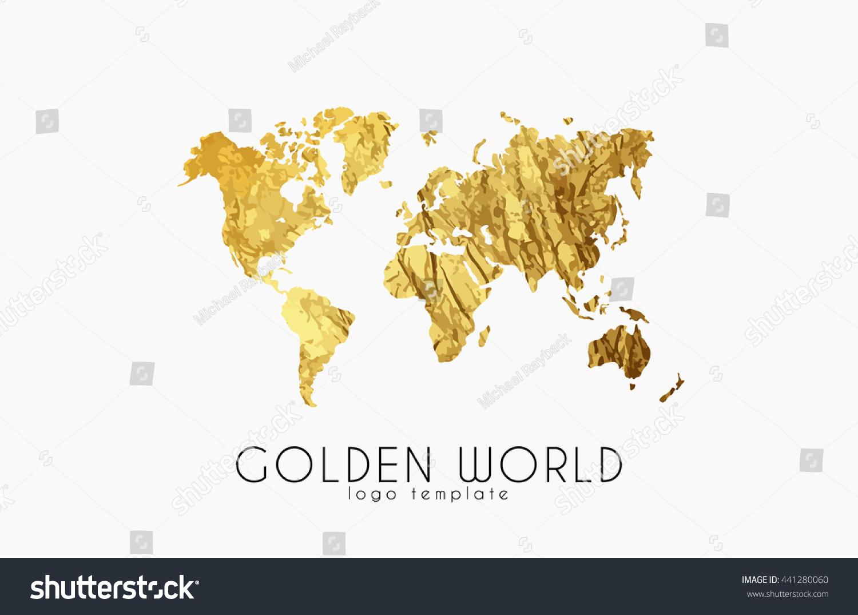 Golden world map world logo design ilustracin en stock 441280060 golden world map world logo design creative world logo gumiabroncs Choice Image