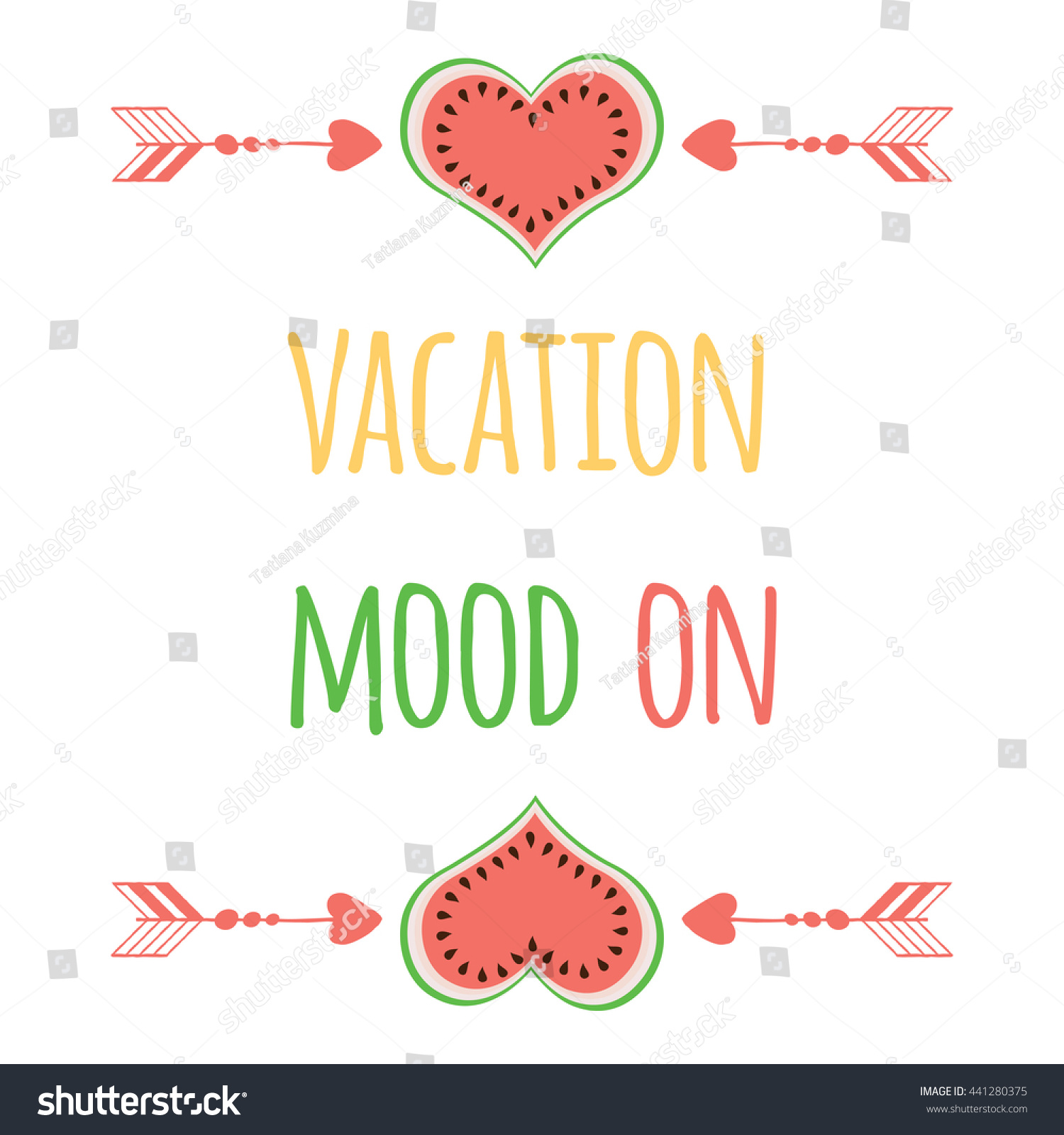 Cute Summer Quote Watermelon Saying Vacation Stock Vector Royalty
