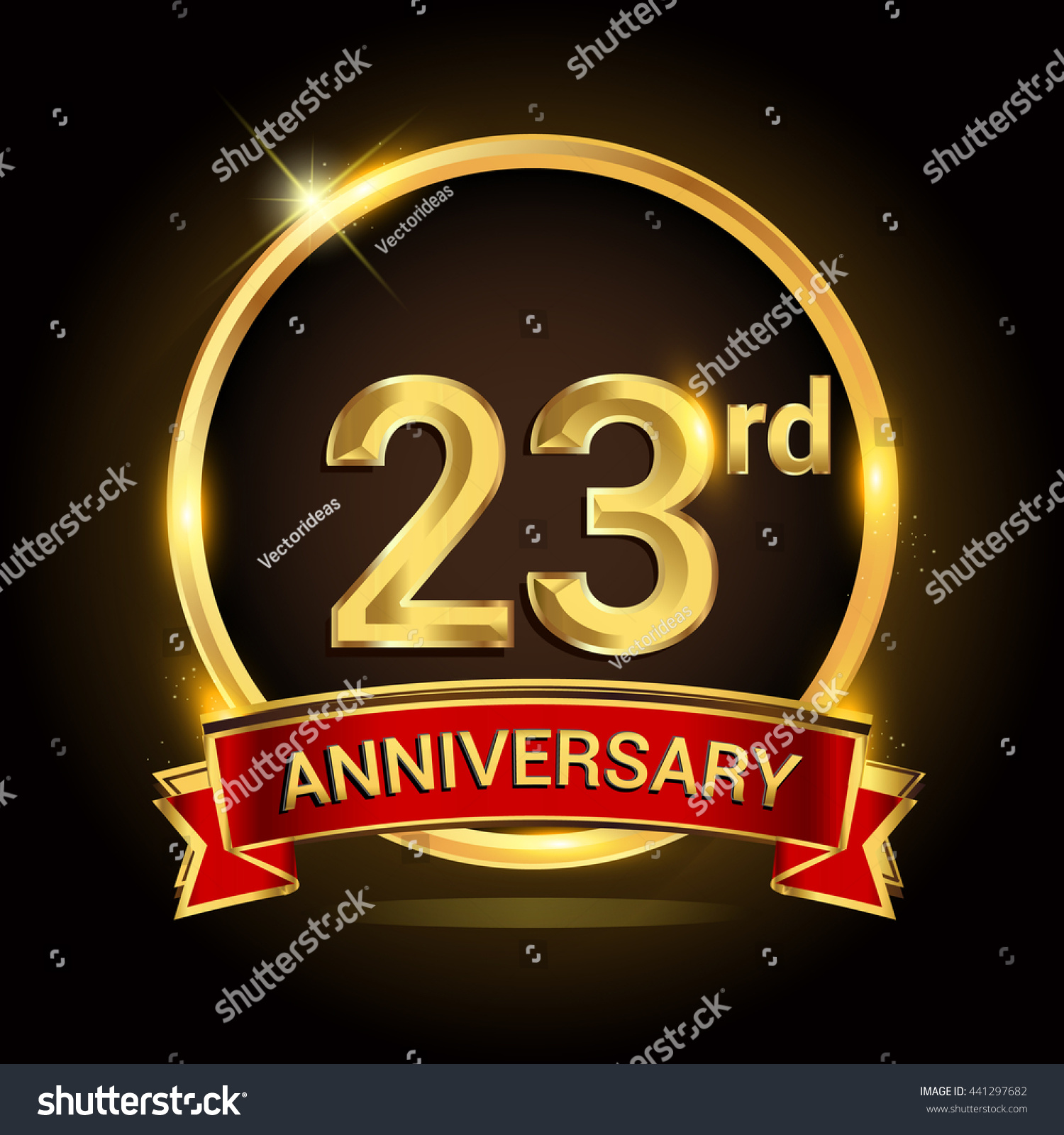 23rd Golden Anniversary Logo Ring Red Stock Vector Royalty Free