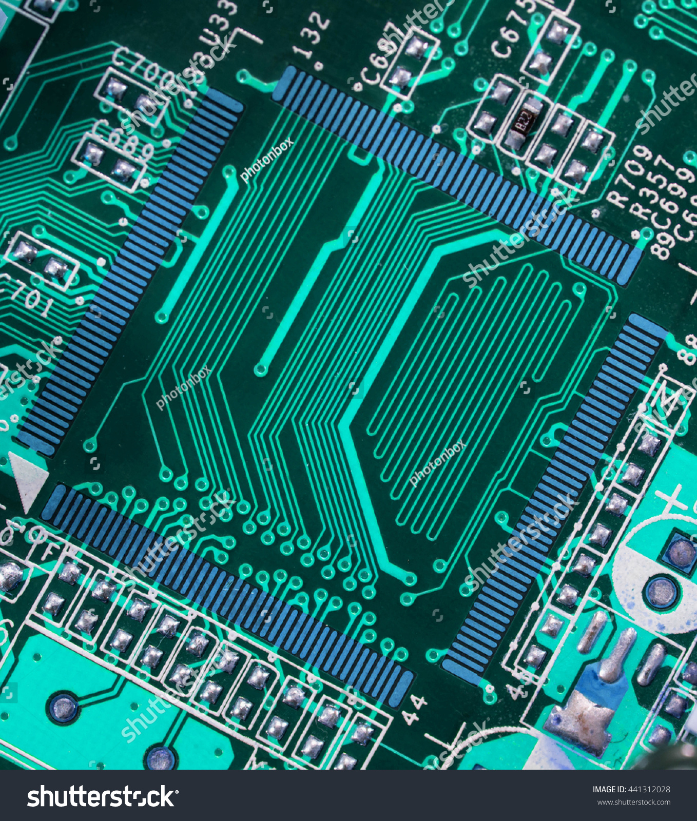 Royalty Free Turquoise Blue Pcb Motherboard Chip 441312028 Stock Electronic Integrated Circuit Image Microchip Board Pattern Background Photo