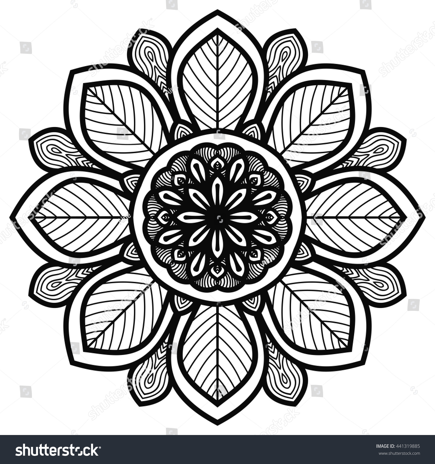 Black Outline Wooden Mandala Vintage Forest Stock Vector
