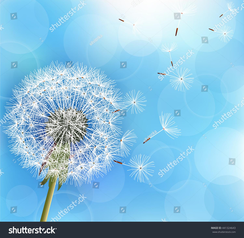 Trendy Nature Light Blue Background Flower Illustration De Stock De