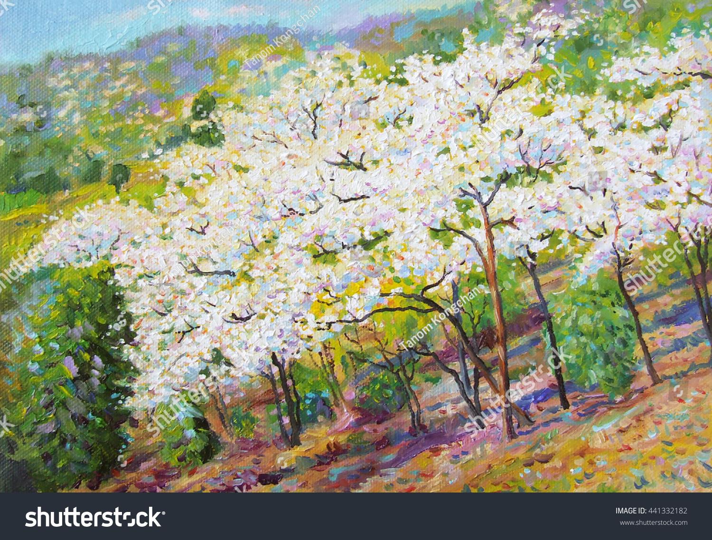 Painting Oil Color Landscape Original Colorful Stock Illustration ...