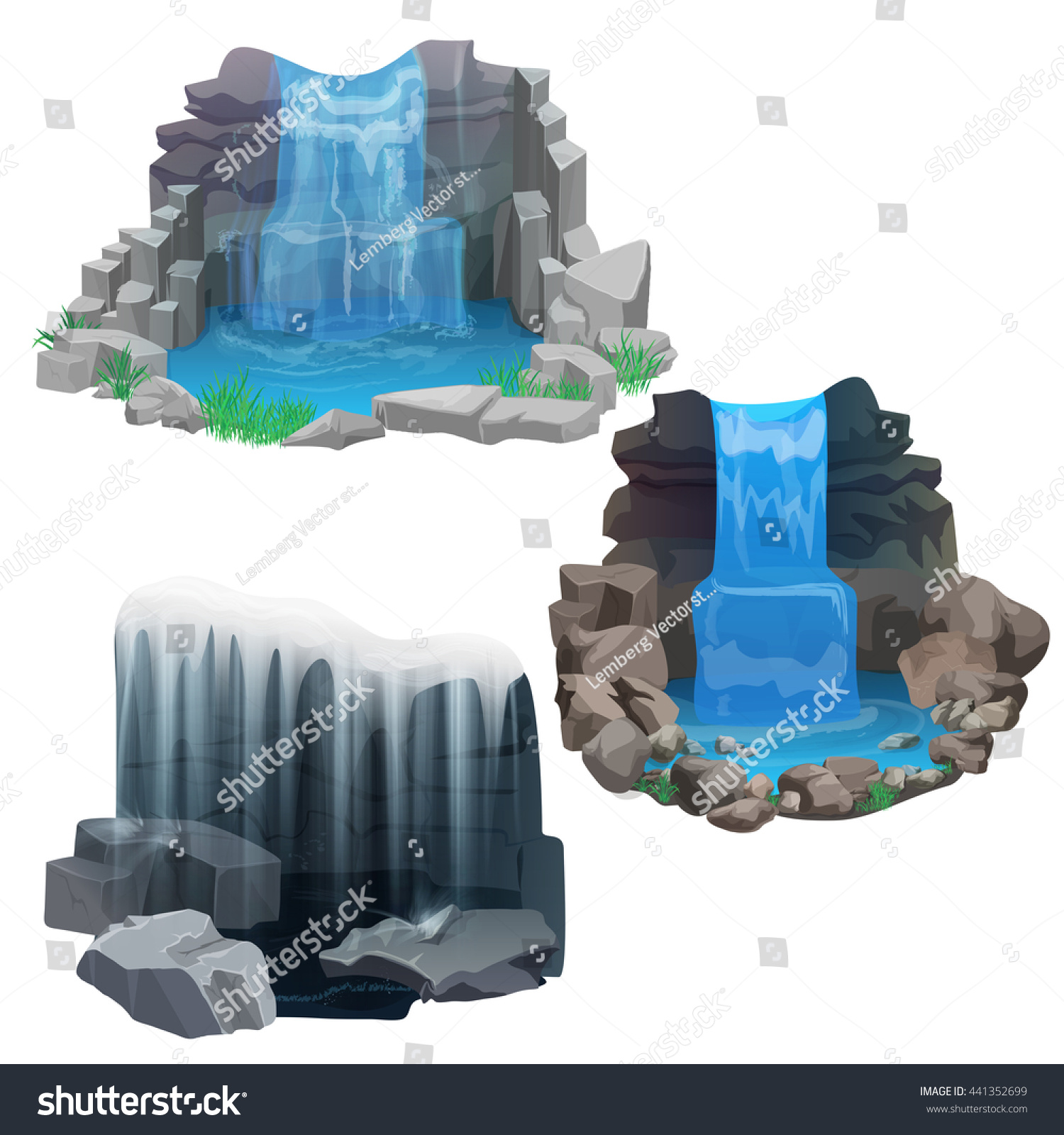 Tropical waterfall collection set game design stock vector for Waterfall set design