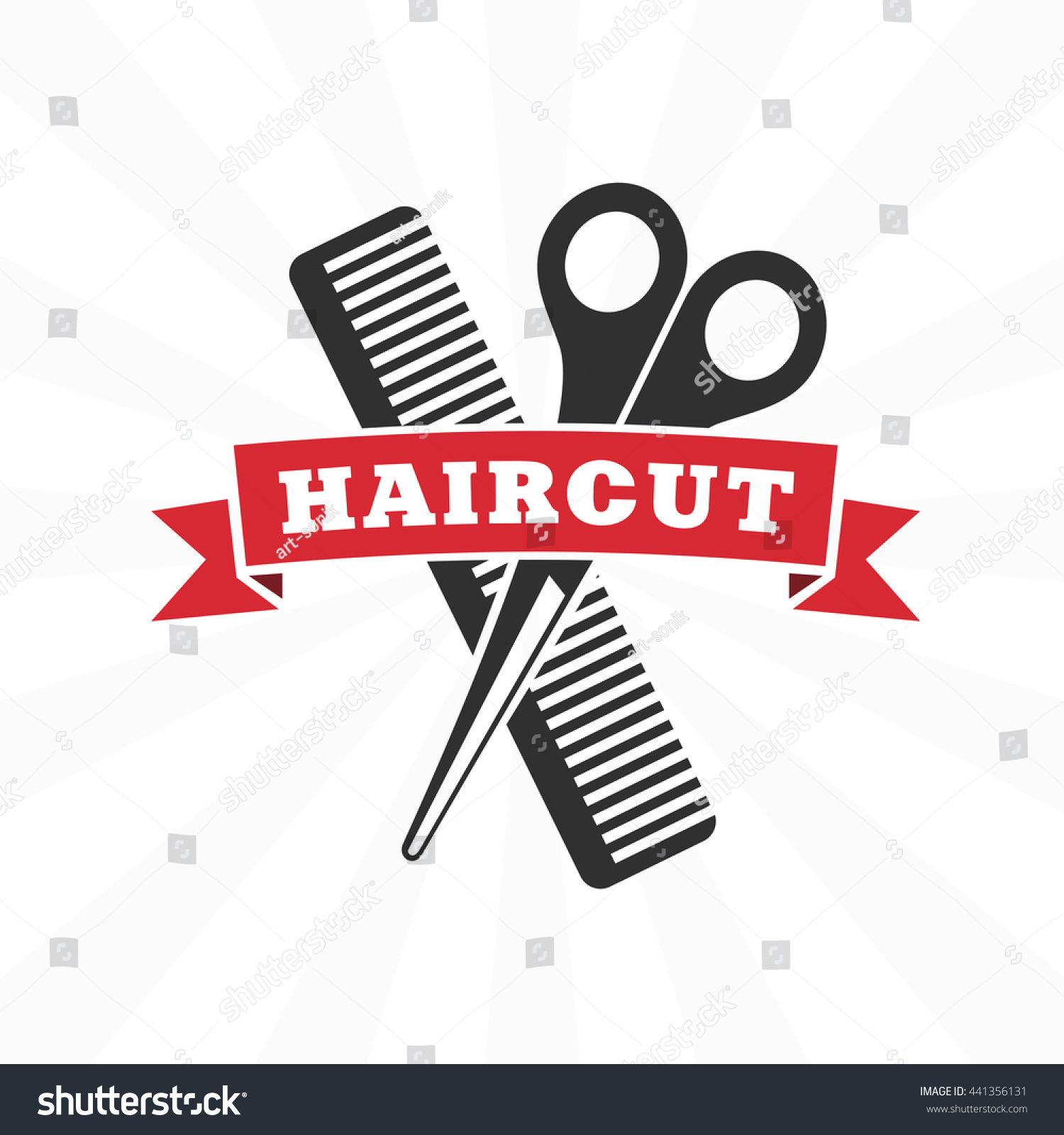 Vector Retro Barber Shop Label Logo Stock Vector Royalty Free 441356131