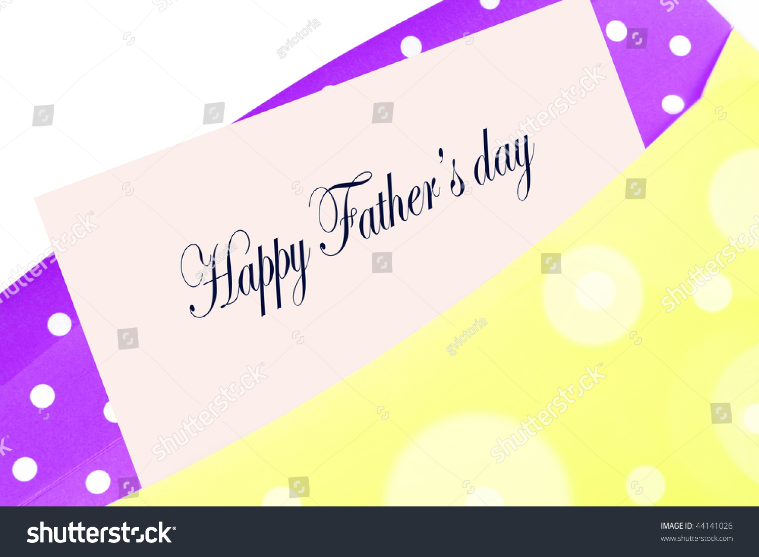 Happy fathers day greeting card note stock illustration 44141026 happy fathers day greeting card note or letter in yellow and purple polka dot envelope kristyandbryce Choice Image