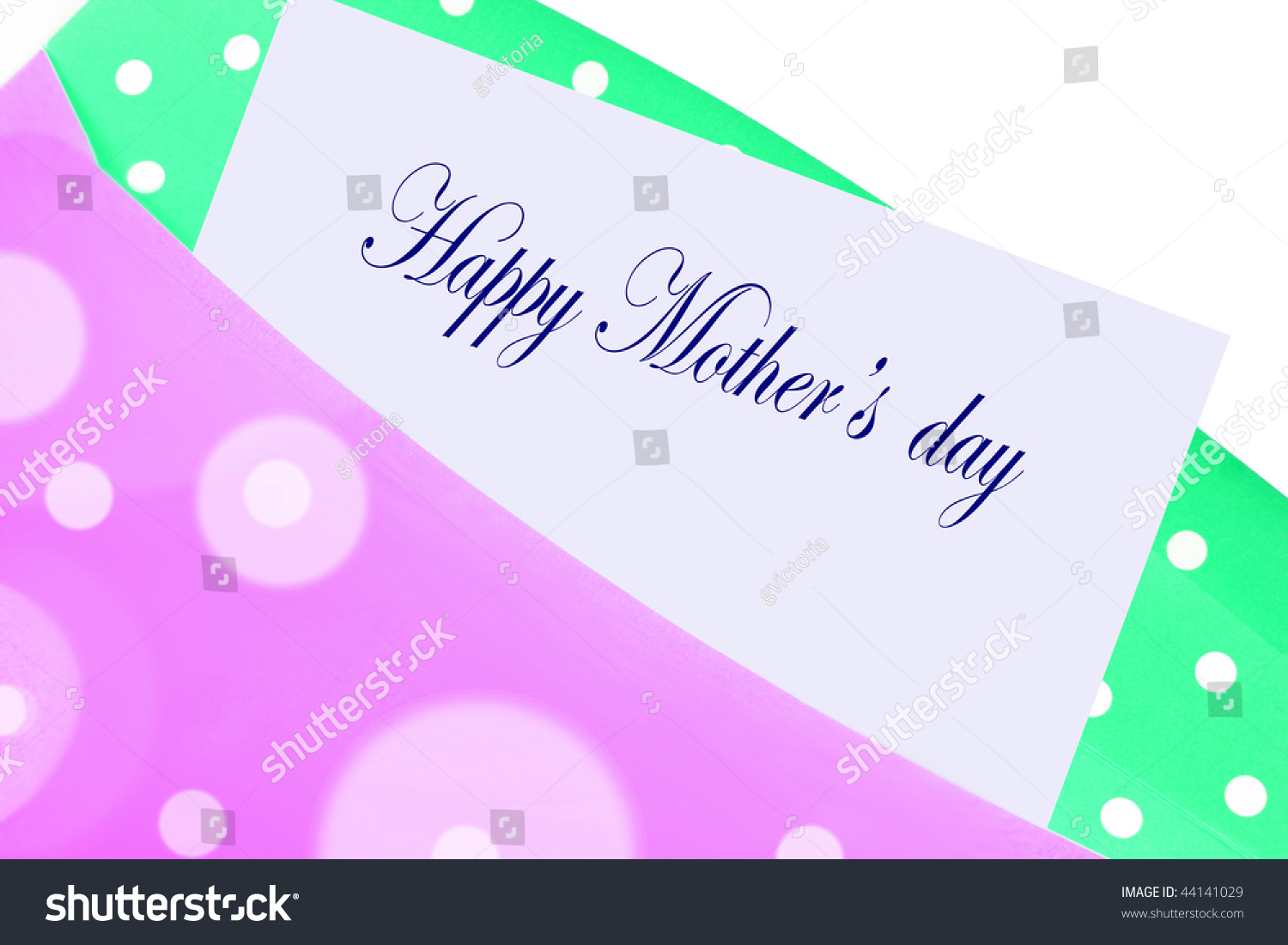 Happy mothers day greeting card note stock illustration 44141029 happy mothers day greeting card note or letter in pink and green polka dot envelope kristyandbryce Choice Image