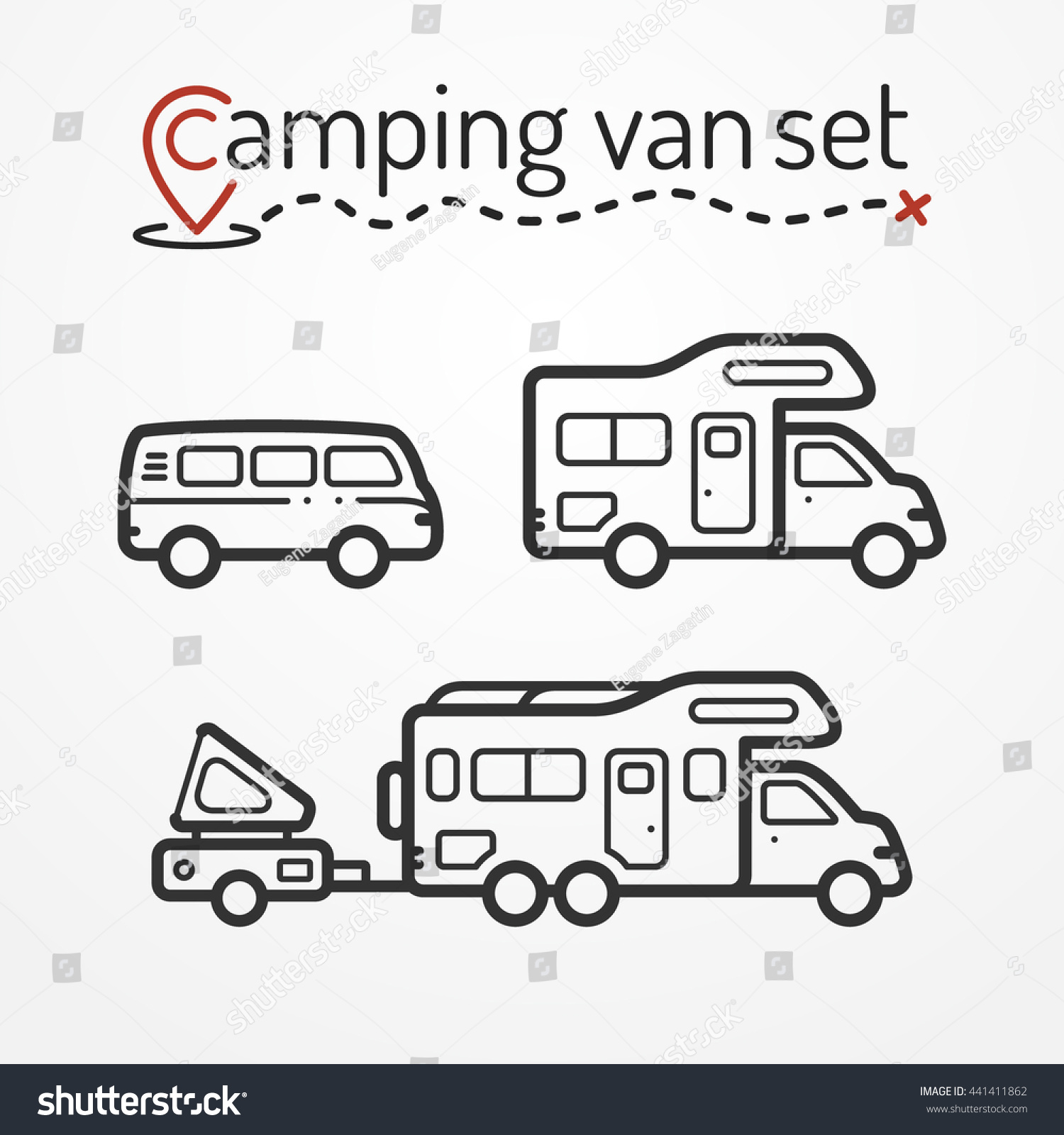 Set Camping Van Icons Travel Van Stock Vector Royalty Free
