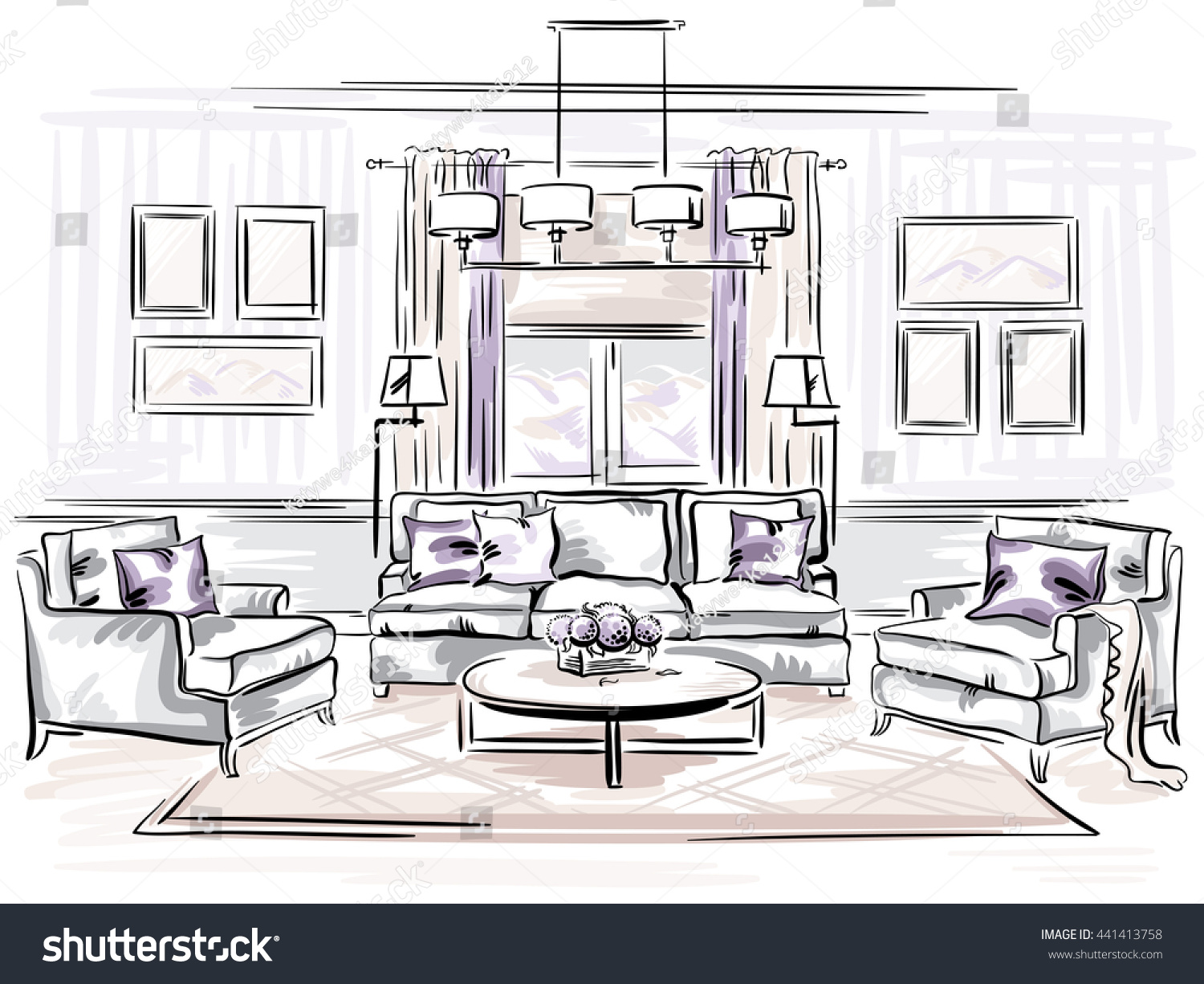 Interior Design Classic Living Room Sofa Stock Illustration ...