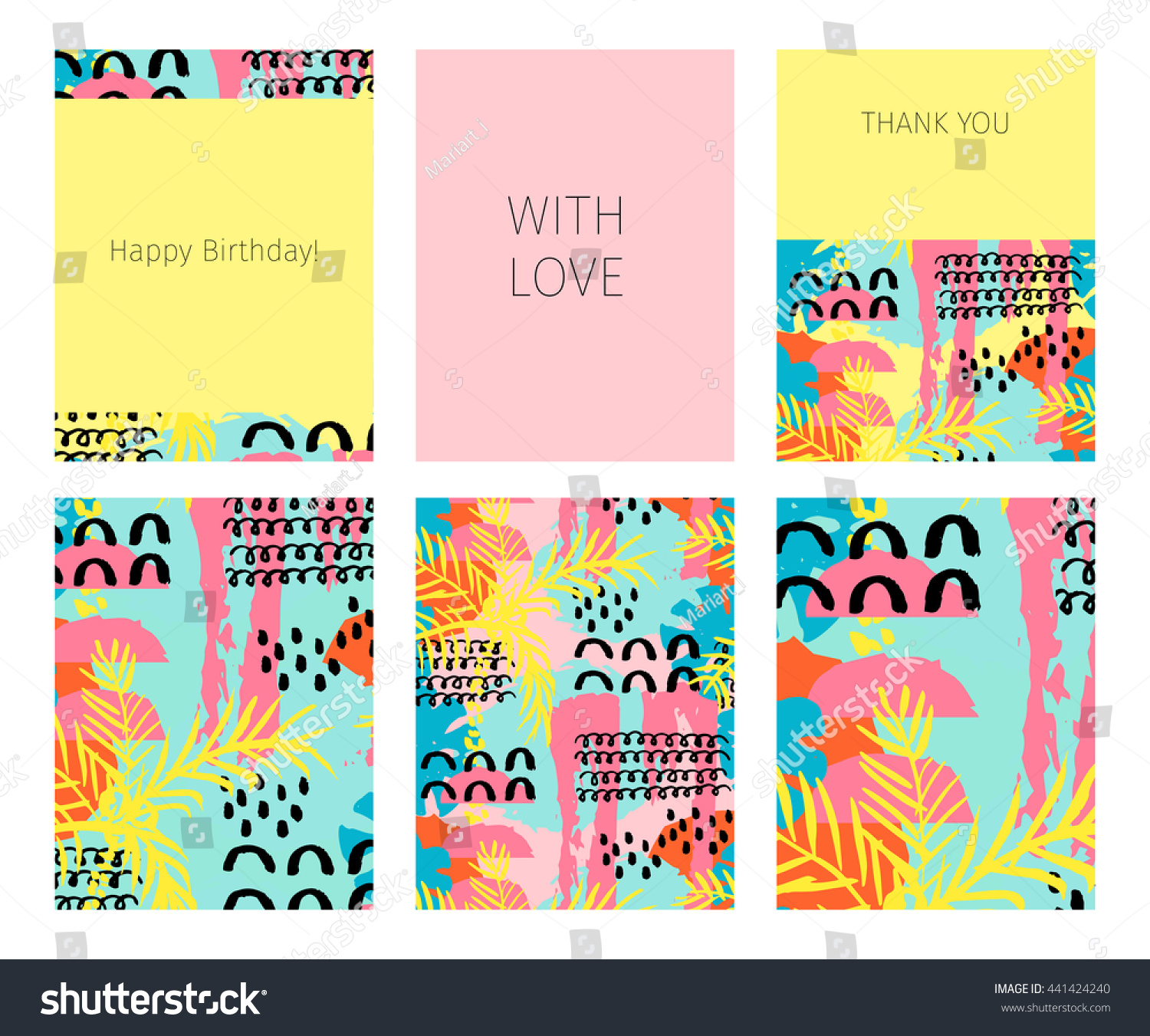 Collection Happy Birthday Love Thank You Stock Vector Royalty Free