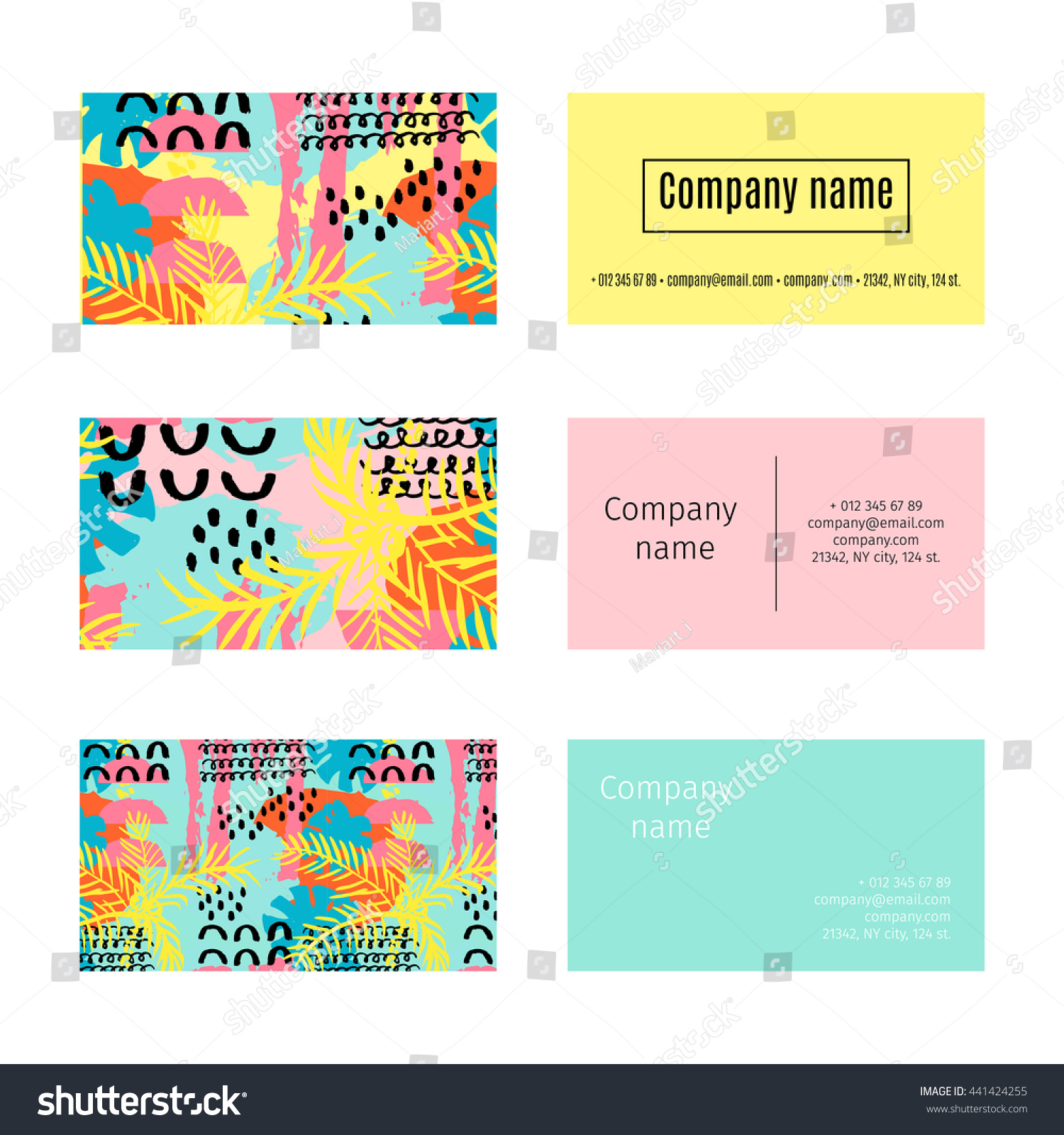 Collection Business Cards Summer Pattern Palm Stock Vector 441424255 ...