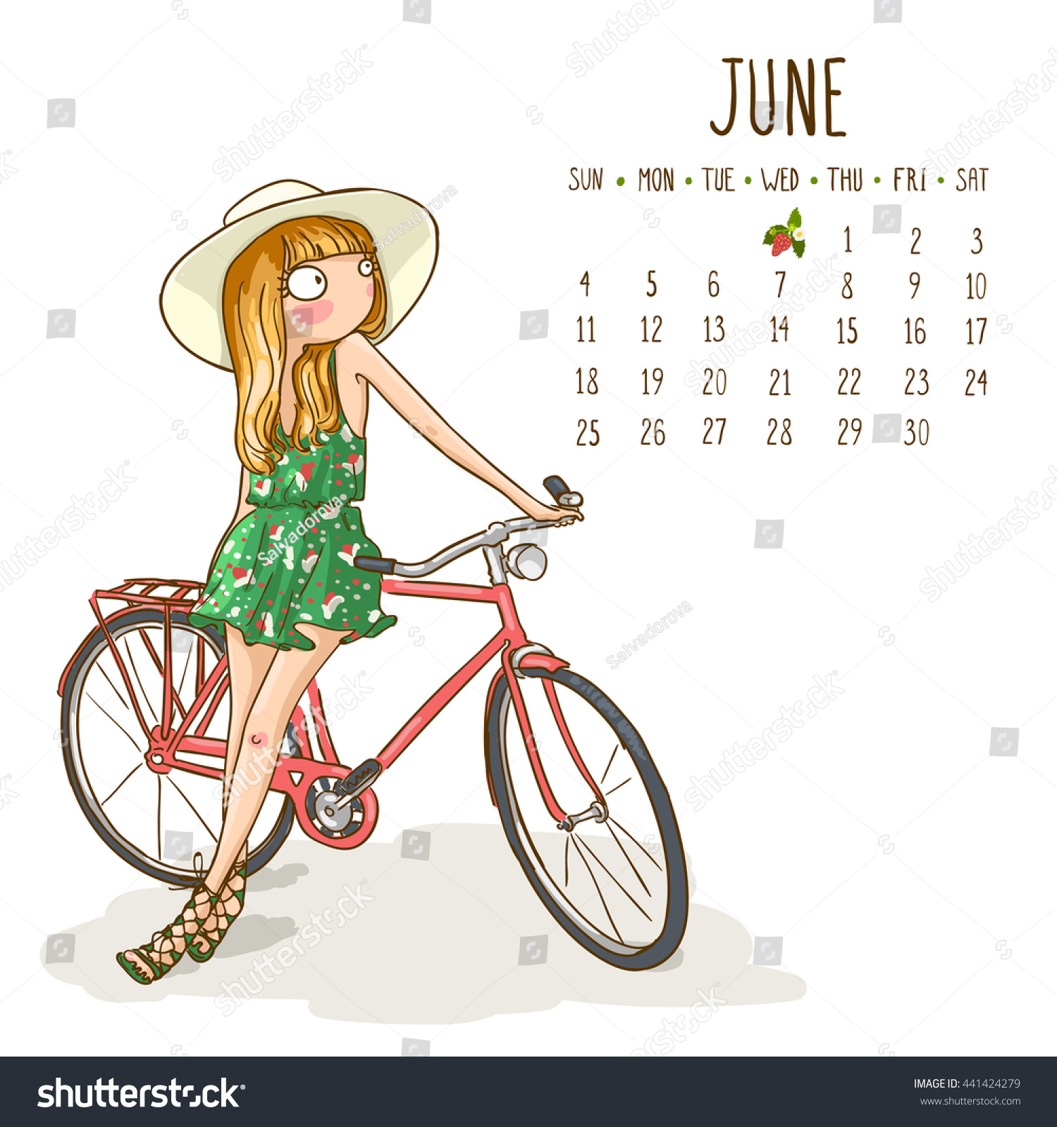 Calendar Girl June Kindle : June calendar cute girl hat stock vector