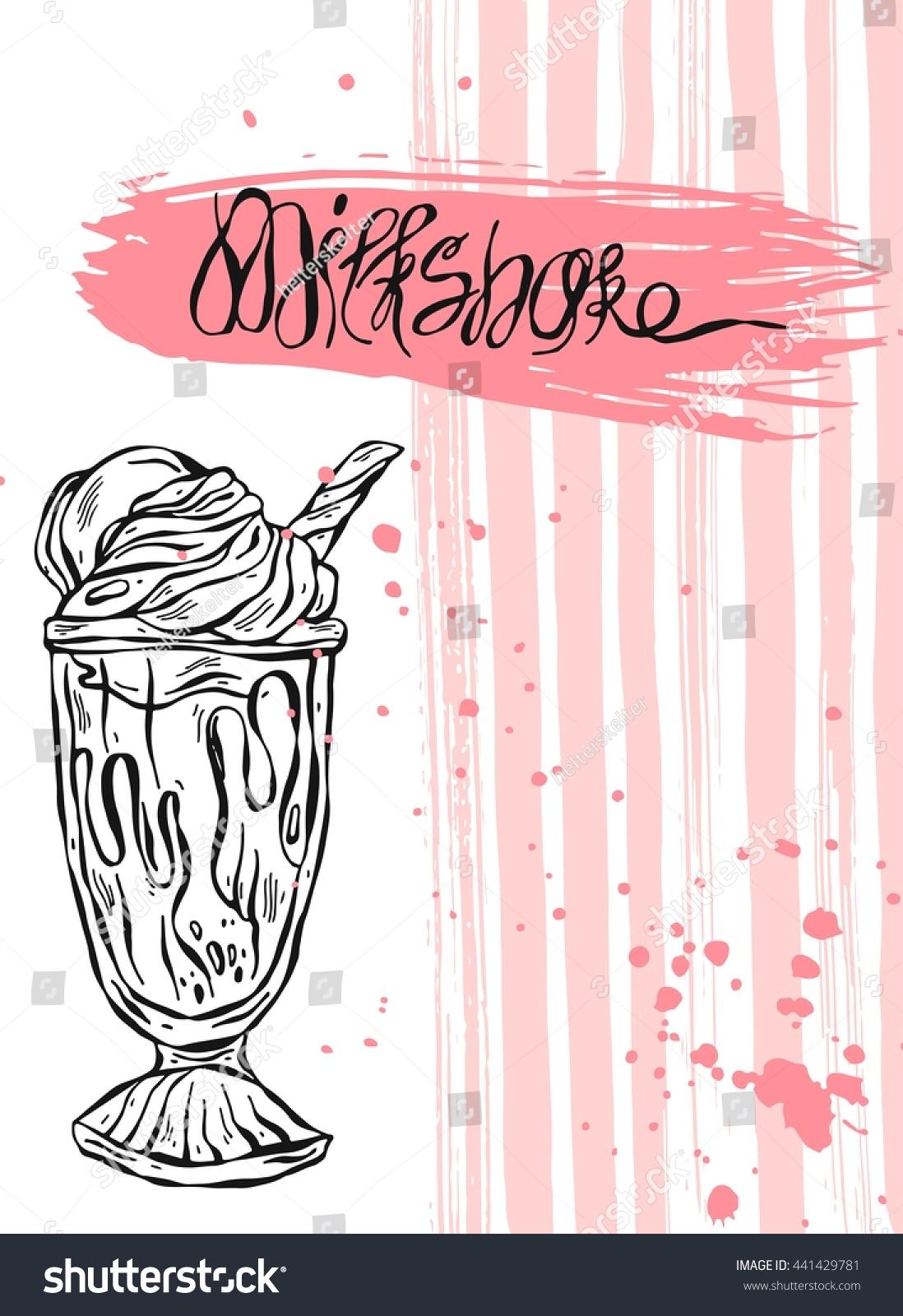 Hand Drawn Vector Abstract Card Milkshakedesign Vector – Sample Kids Menu Template