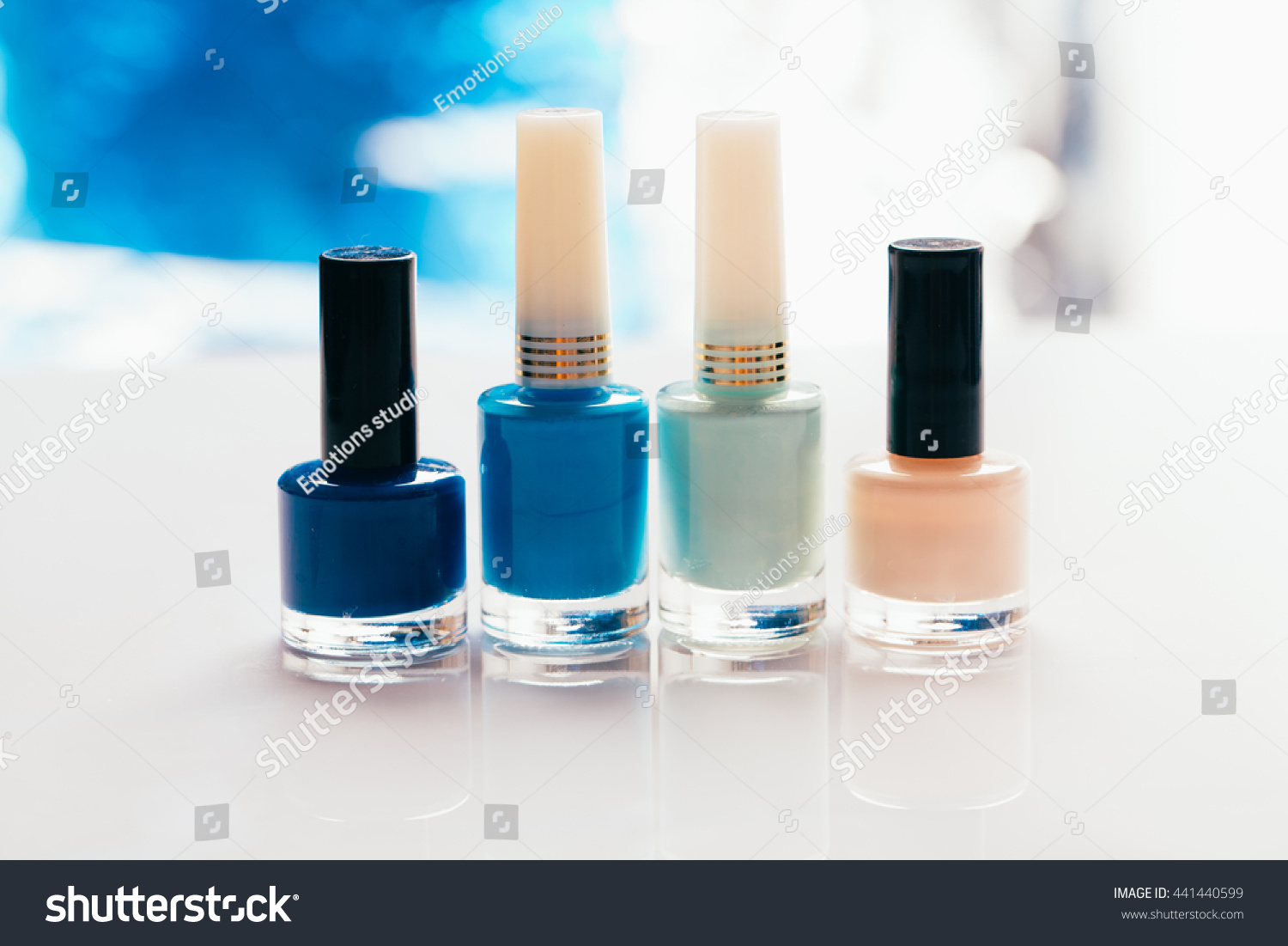 Shades Blue Nail Polish On Light Stock Photo & Image (Royalty-Free ...