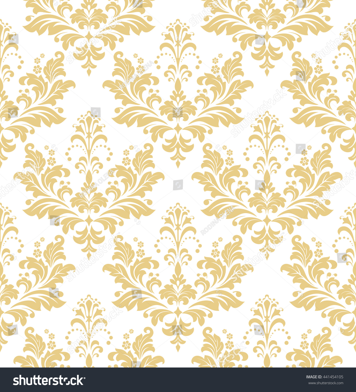 white and gold floral wallpaper - photo #36