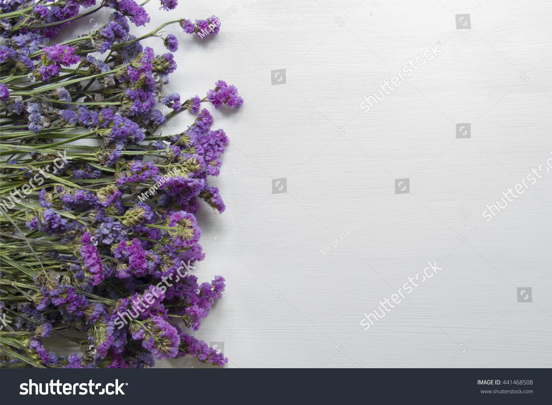 Statice Purple Flower On Wooden Floor With White Background Ez Canvas