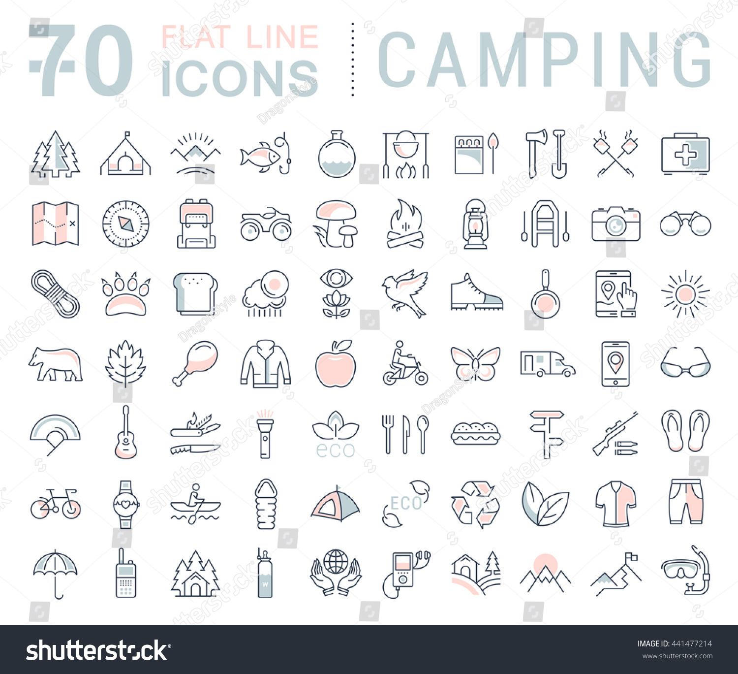 Set vector line icons in flat design camping eco and ecotourism with elements for mobile concepts and web apps Collection modern infographic logo and pictogram