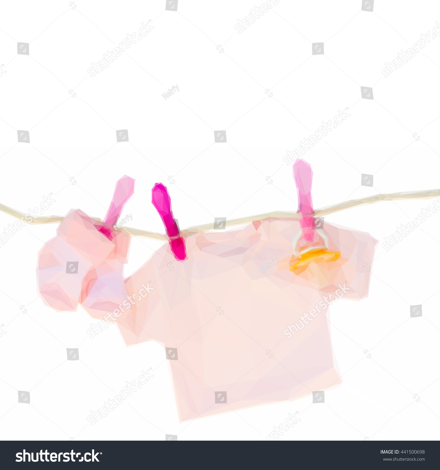 Low Poly Illustration Baby Pink Clothes Stock Vector