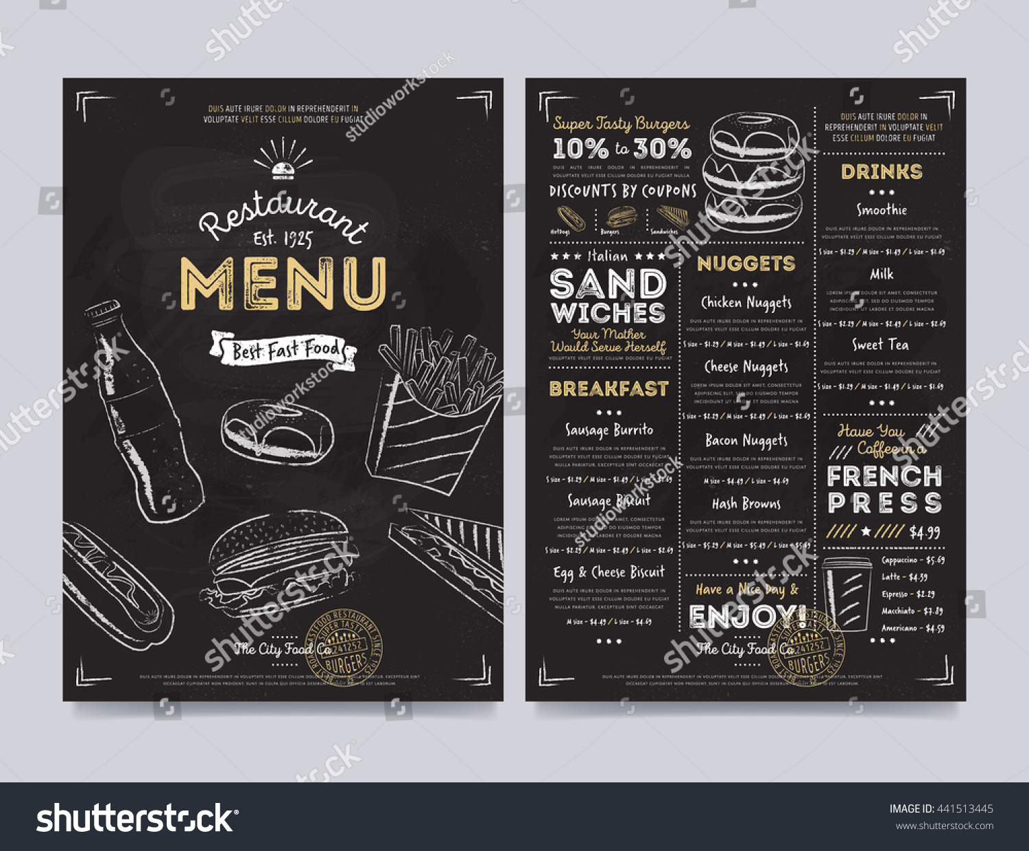 Fast food menu cover layout breakfast stock vector