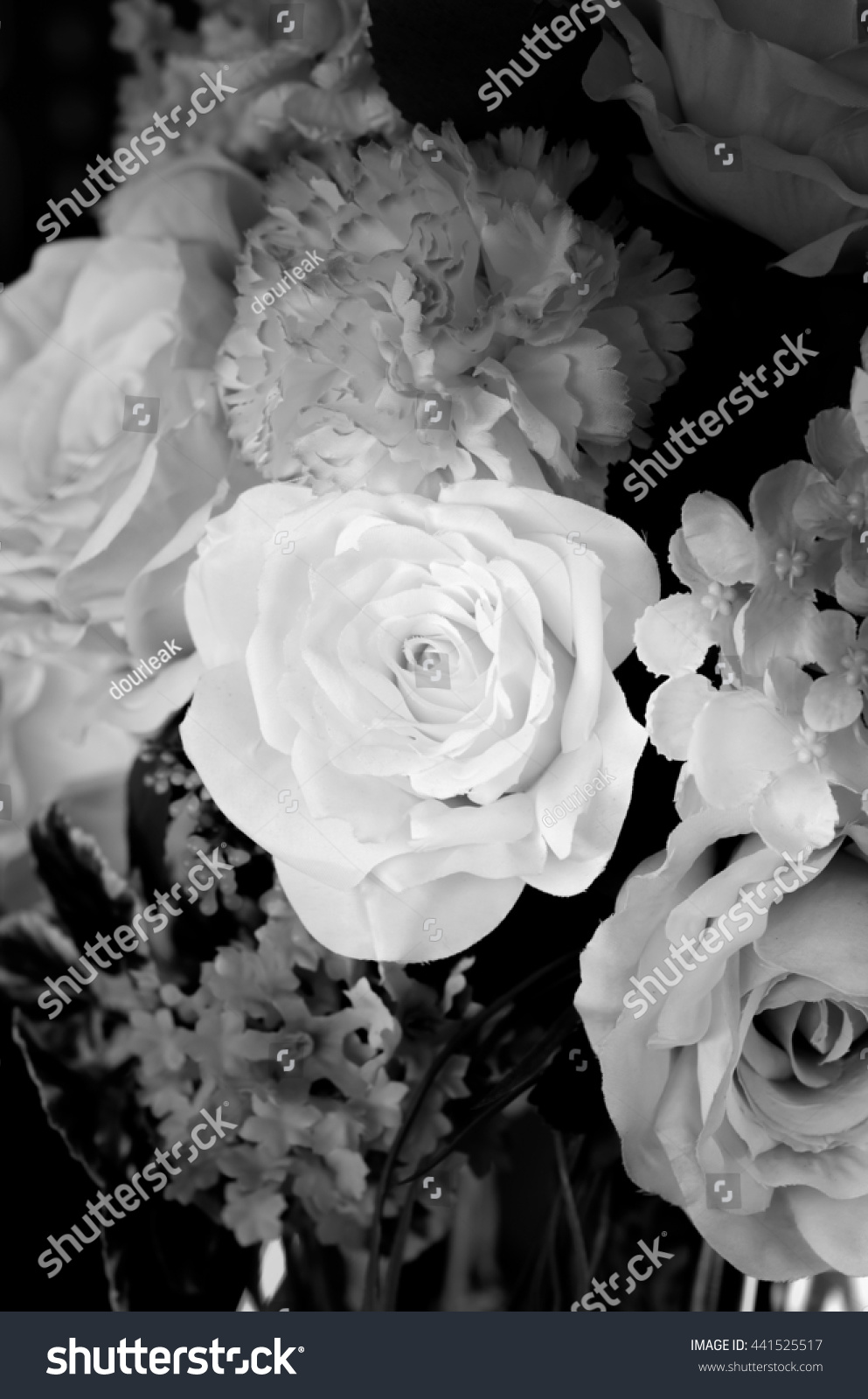 Beautiful Festive Bouquet From Color With Rose And White