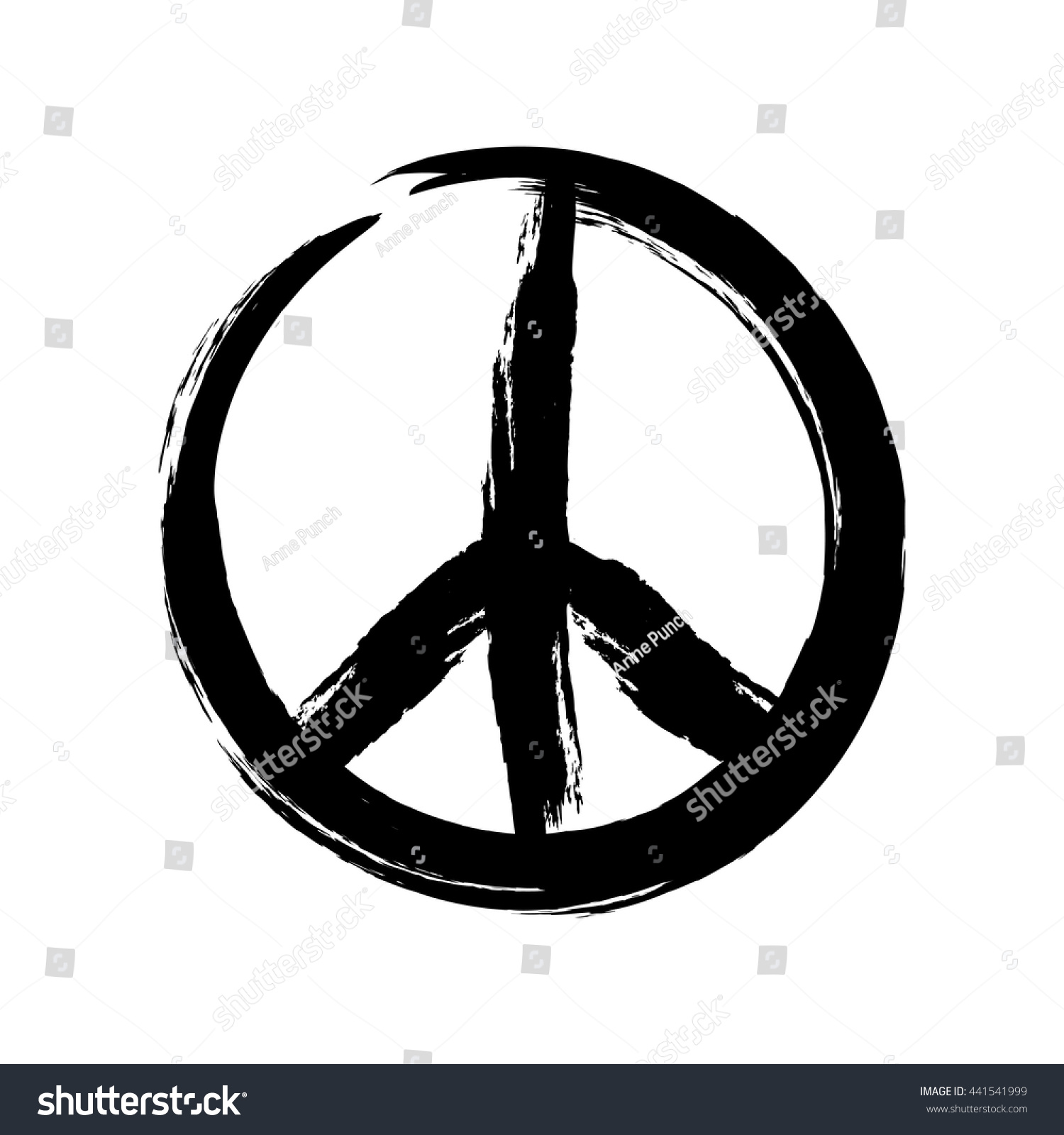 Sign Pacifist Peace Symbol Drawn By Stock Vector Royalty Free