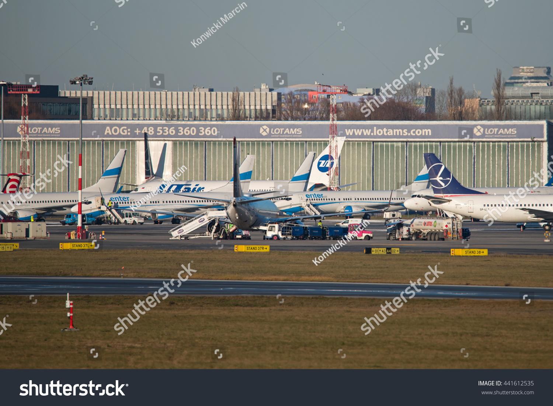 Aeroporto Waw : Warsaw poland december 29 planes beside stock photo royalty free