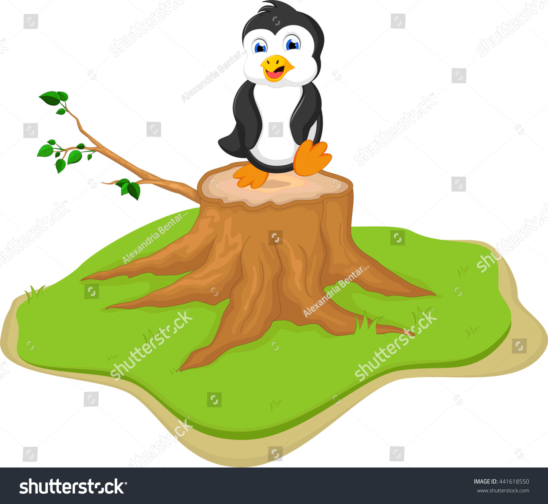 Cute Penguin On Tree Stump Stock Vector 441618550 - Shutterstock