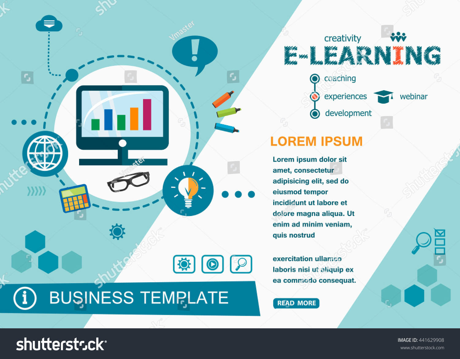 online elearning design concepts words learning stock vector