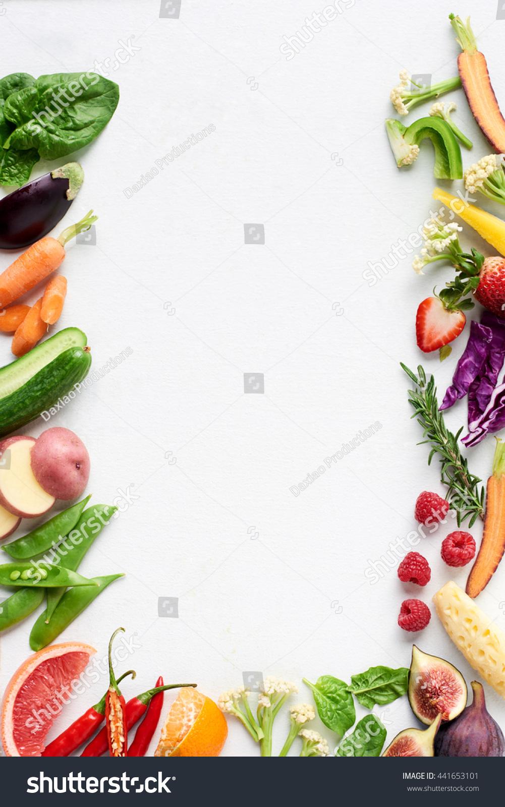 Food Background Border Flat Lay Rainbow Stock Photo ...