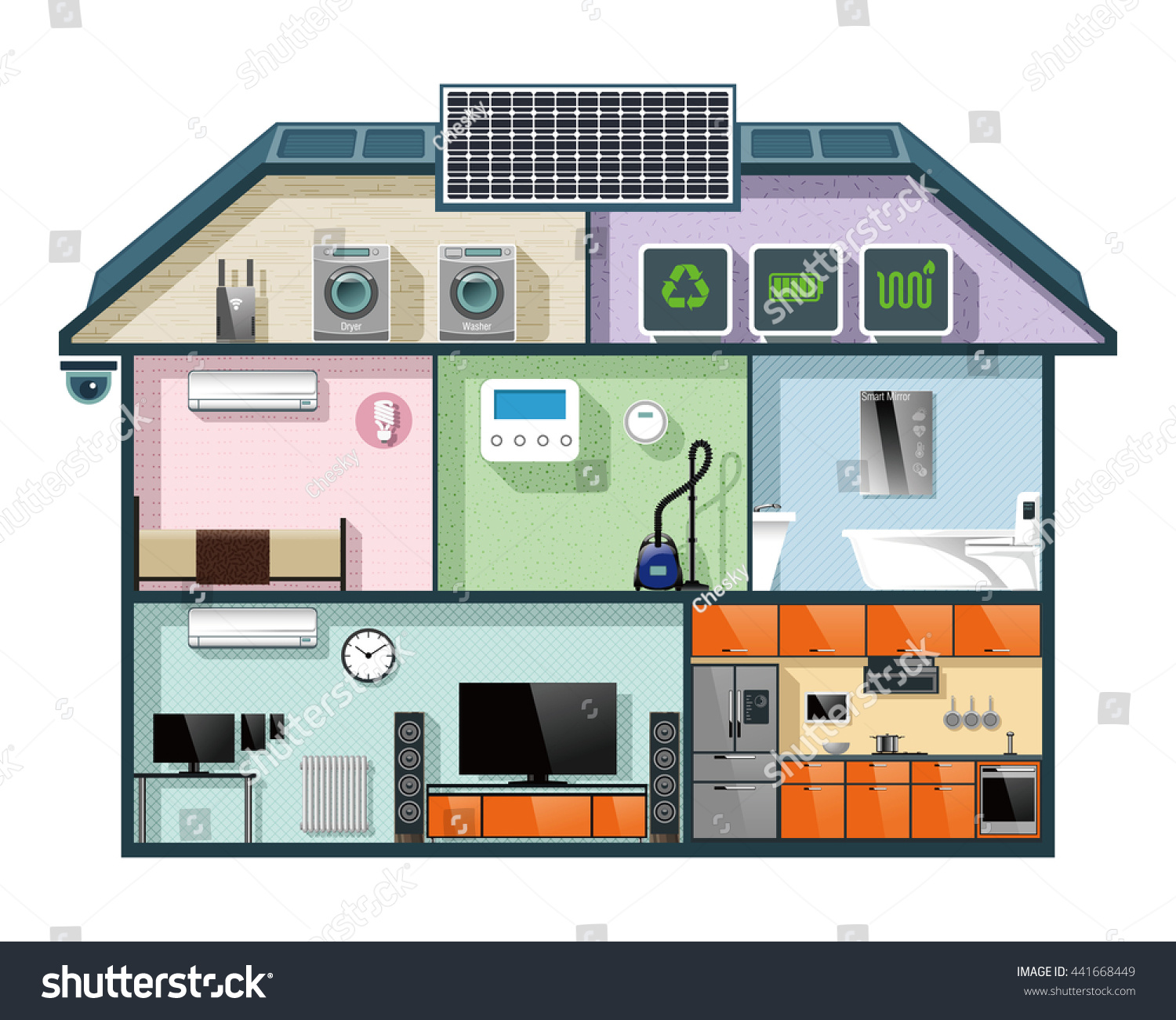 Energy efficient house cutaway image smart stock vector 441668449 shutterstock - Home automation energy saving ...