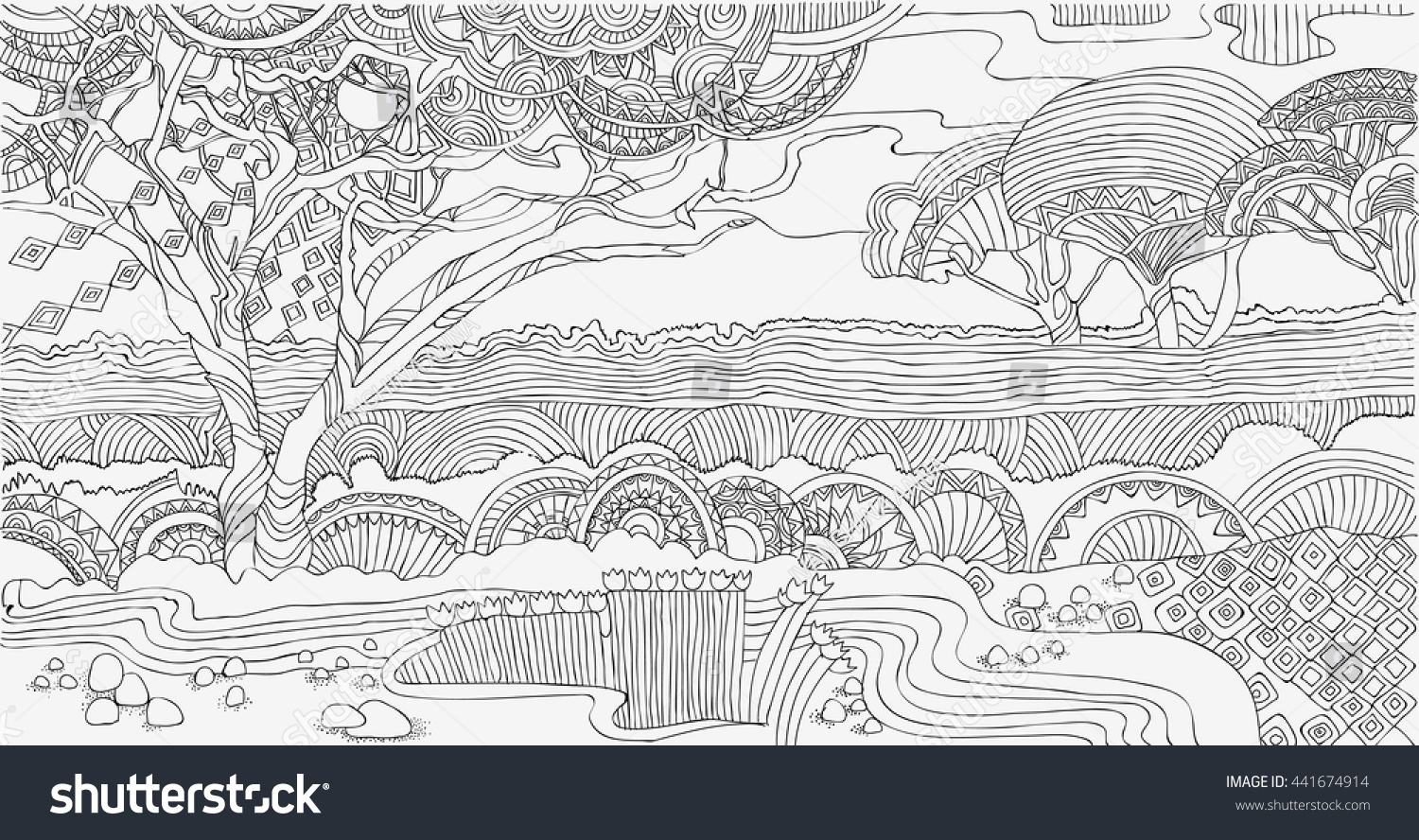 Beautiful African Landscape Coloring Pages Africa Stock Vector