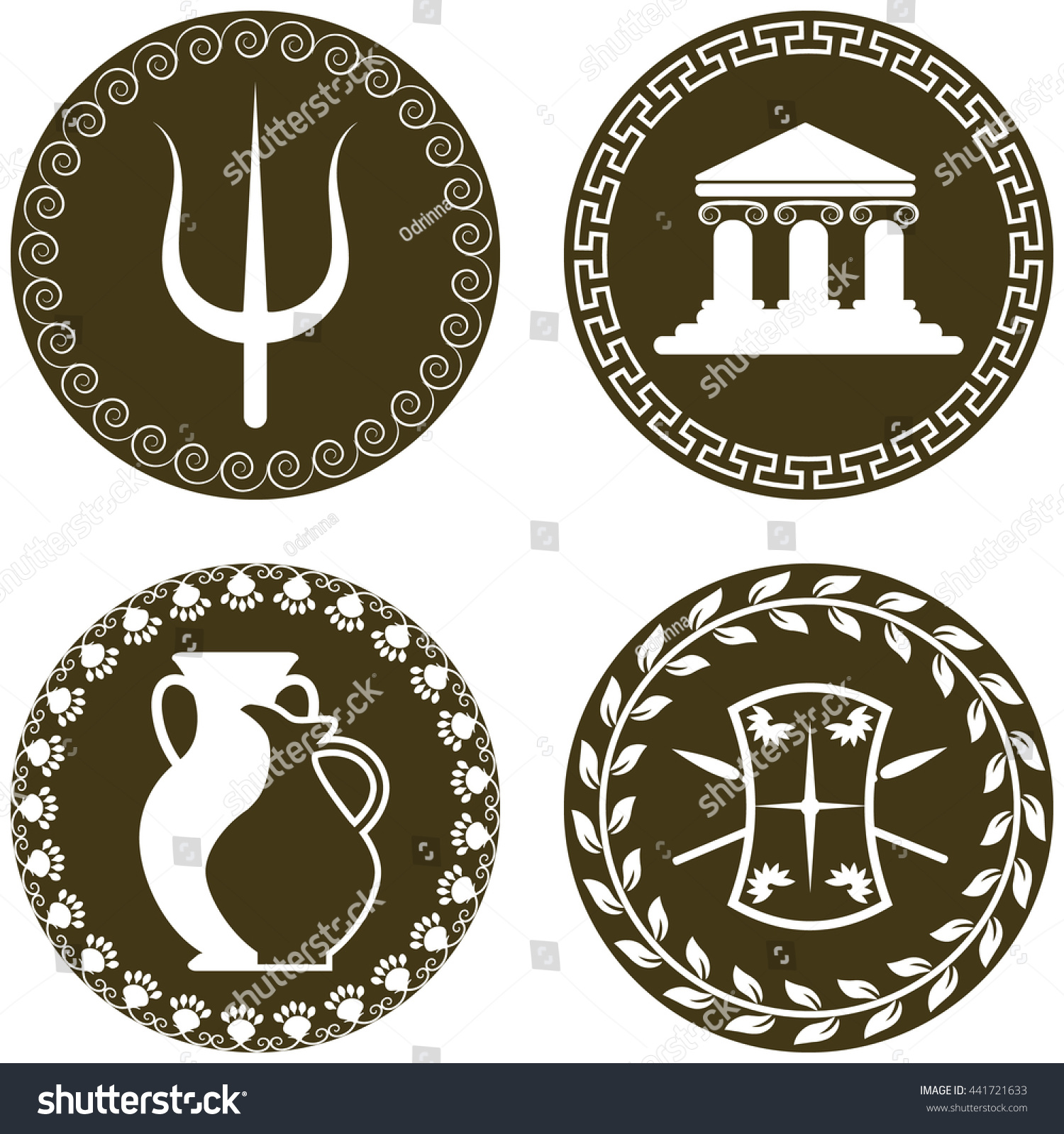 Set Ancient Logos Temple Amphora Jug Stock Vector Royalty Free