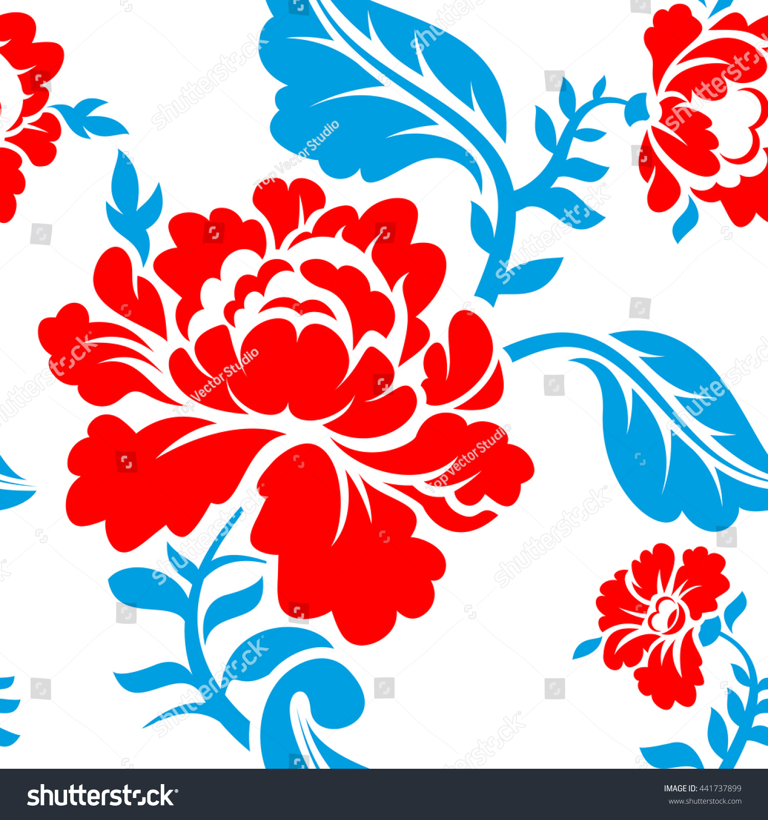 Russian National Flower Pattern Colors Russia Stock Vector Royalty
