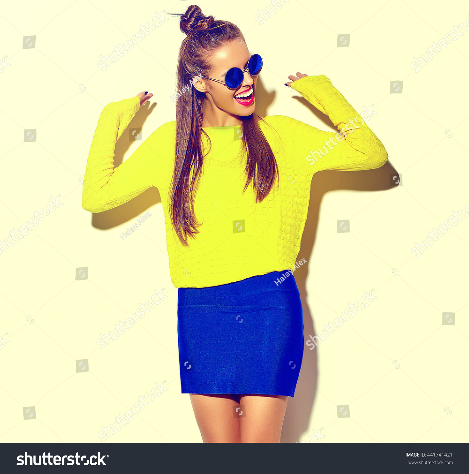 Portrait Cheerful Fashion Hipster Girl Going Stock Photo ...