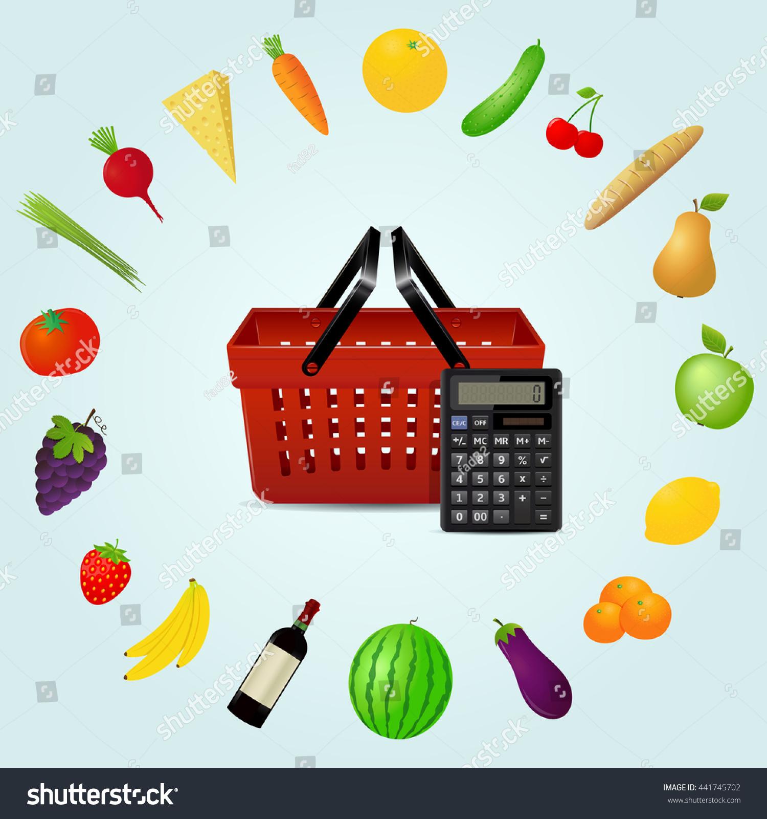 calculator shopping basket groceries stock illustration 441745702