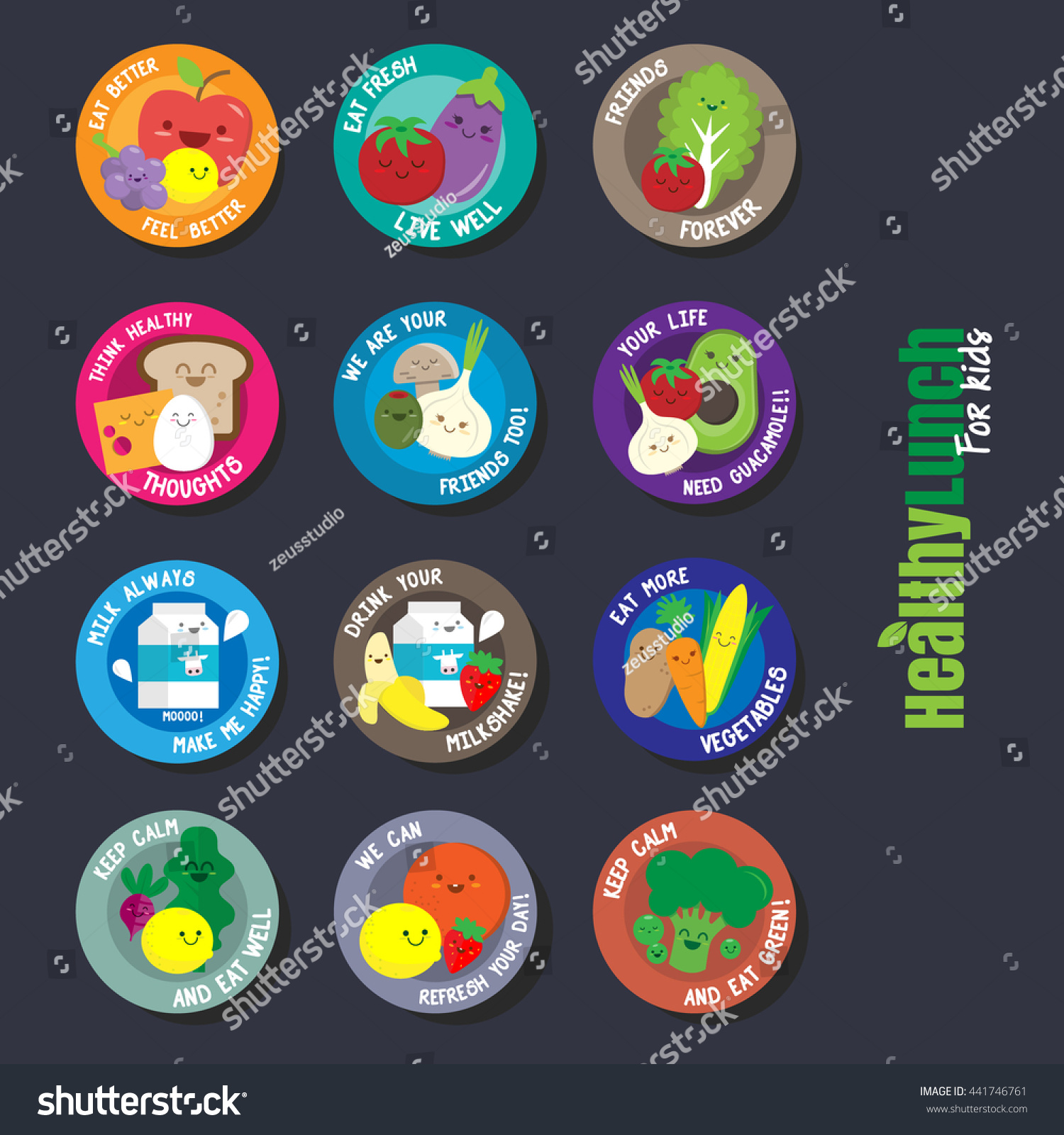 Set Flat Design Labels Healthy Food Stock Vector Royalty Free