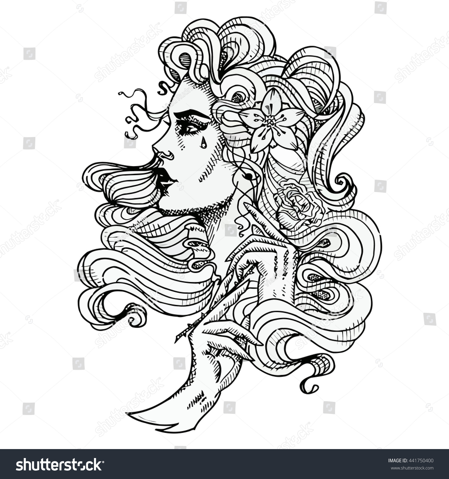 Vector Tattoo Template On White Background Stock Vector 441750400 ...