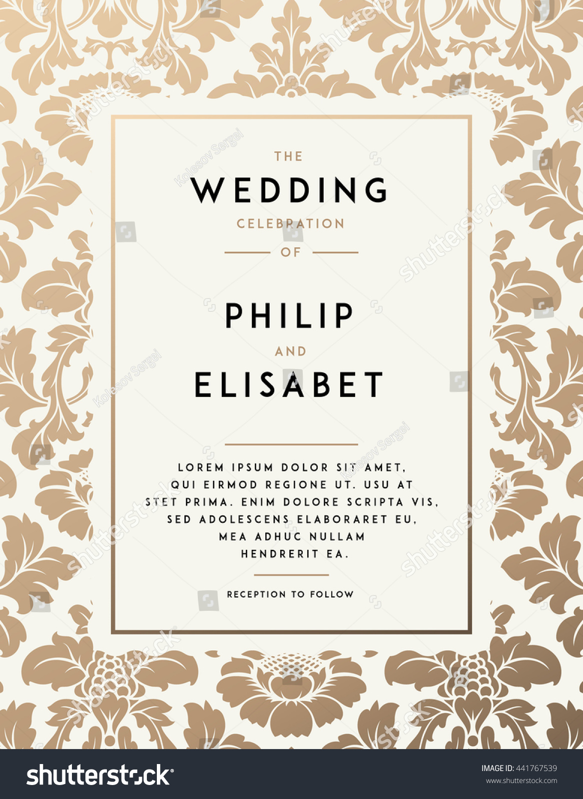 Vintage wedding invitation template modern design em vetor stock vintage wedding invitation template modern design wedding invitation design with damask background tradition stopboris Image collections