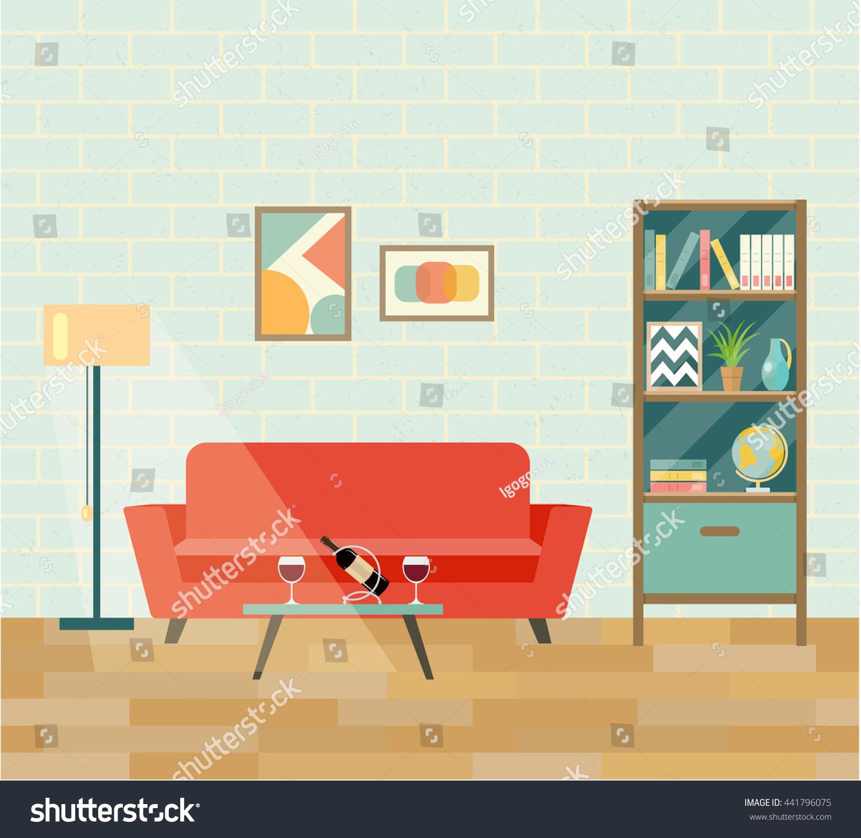 Elegant Retro Interior Living Room Brick Wall Stock Vector 441796075   Shutterstock