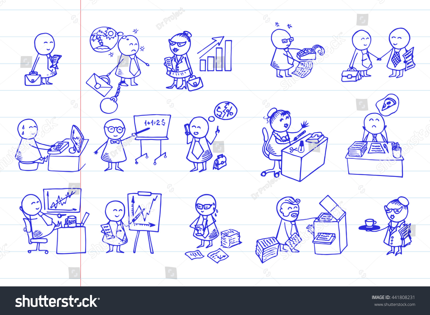 funny doodle office workers icons big stock vector royalty free